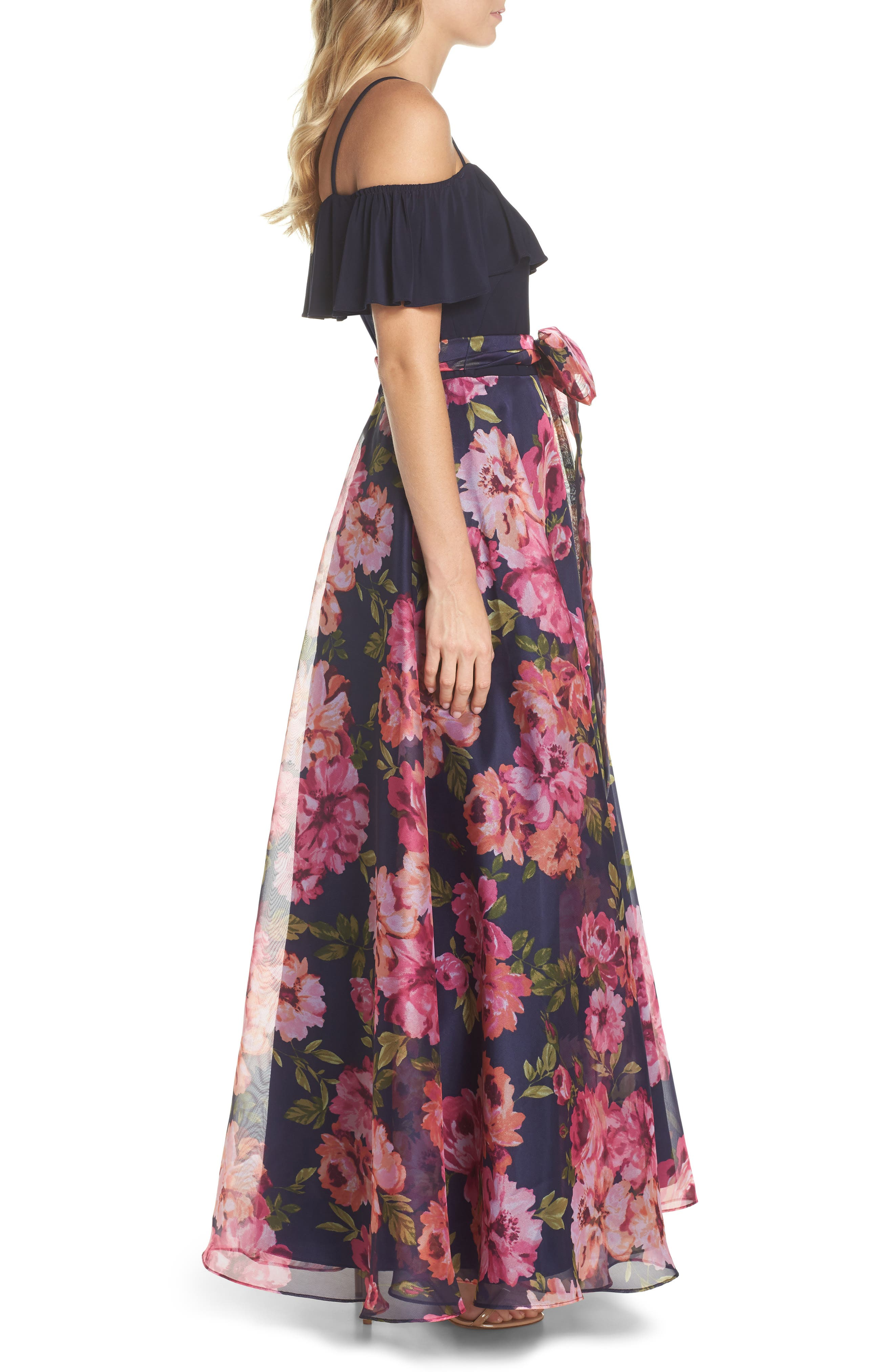 Cold Shoulder Ruffle Gown,                             Alternate thumbnail 3, color,                             NAVY MULTI