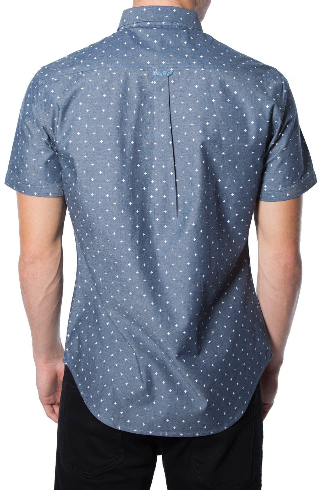 'Habits' Trim Fit Short Sleeve Chambray Shirt,                             Alternate thumbnail 2, color,                             410