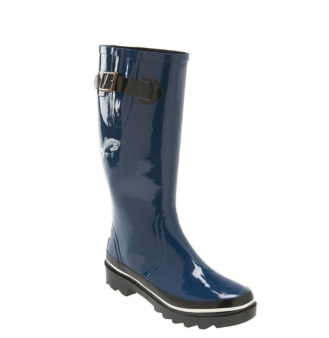kate spade 'riley' red daisy rain boot,                             Main thumbnail 1, color,                             BLU