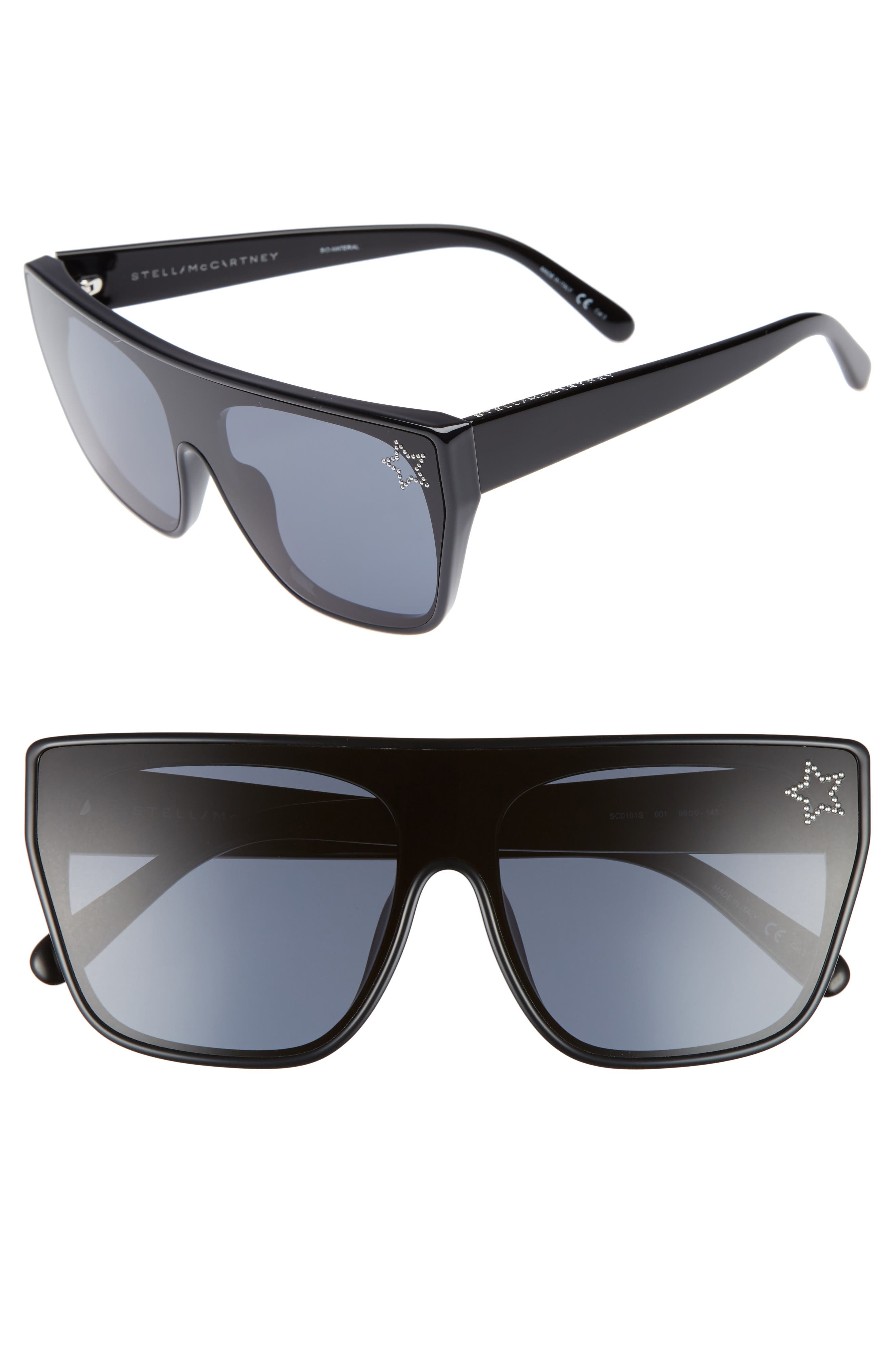 99mm Flat Top Sunglasses,                         Main,                         color, BLACK