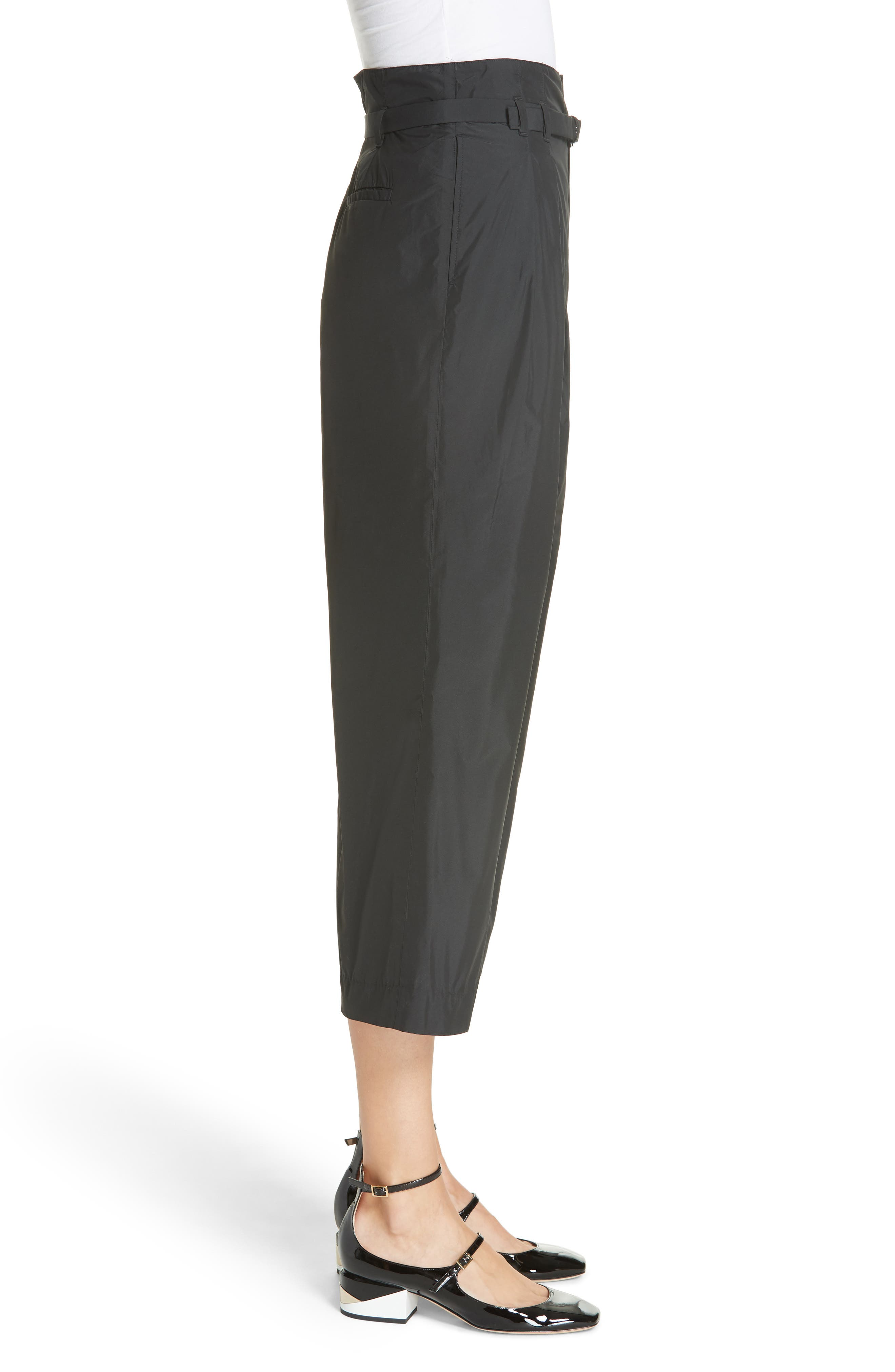 Belted Pleat Front Pants,                             Alternate thumbnail 3, color,                             BLACK