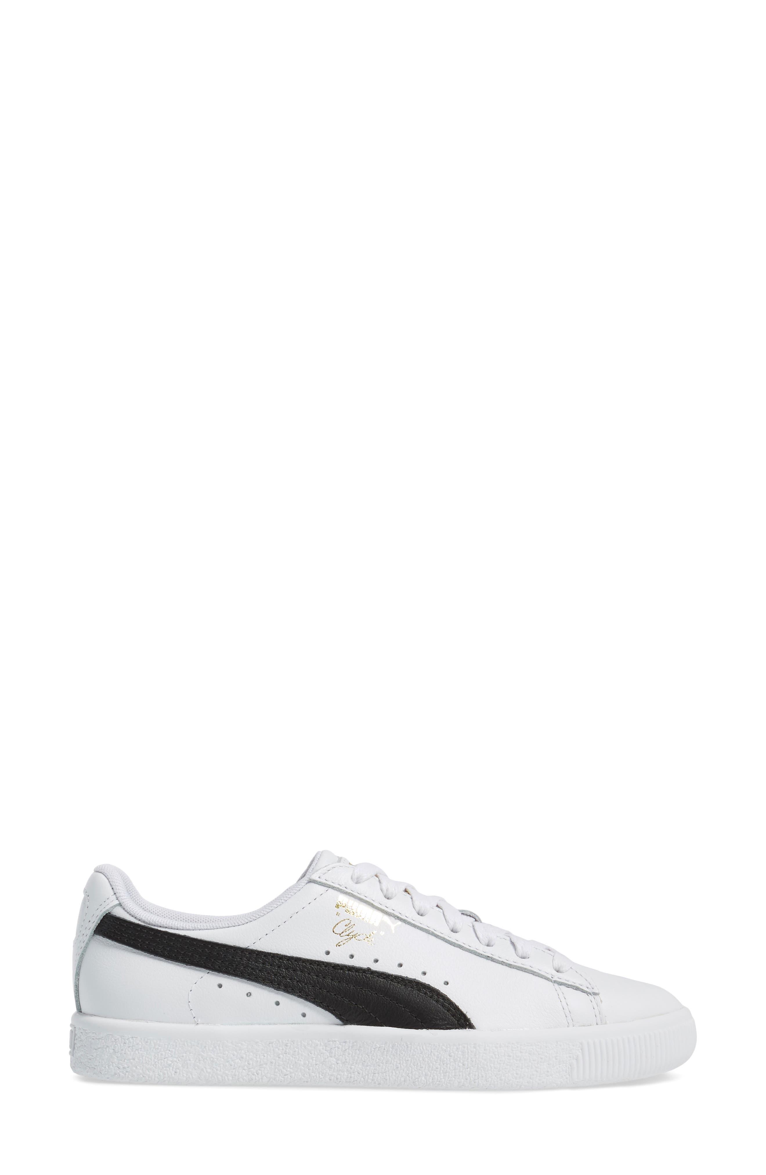 Clyde Sneaker,                             Alternate thumbnail 3, color,                             WHITE/ BLACK/ GOLD