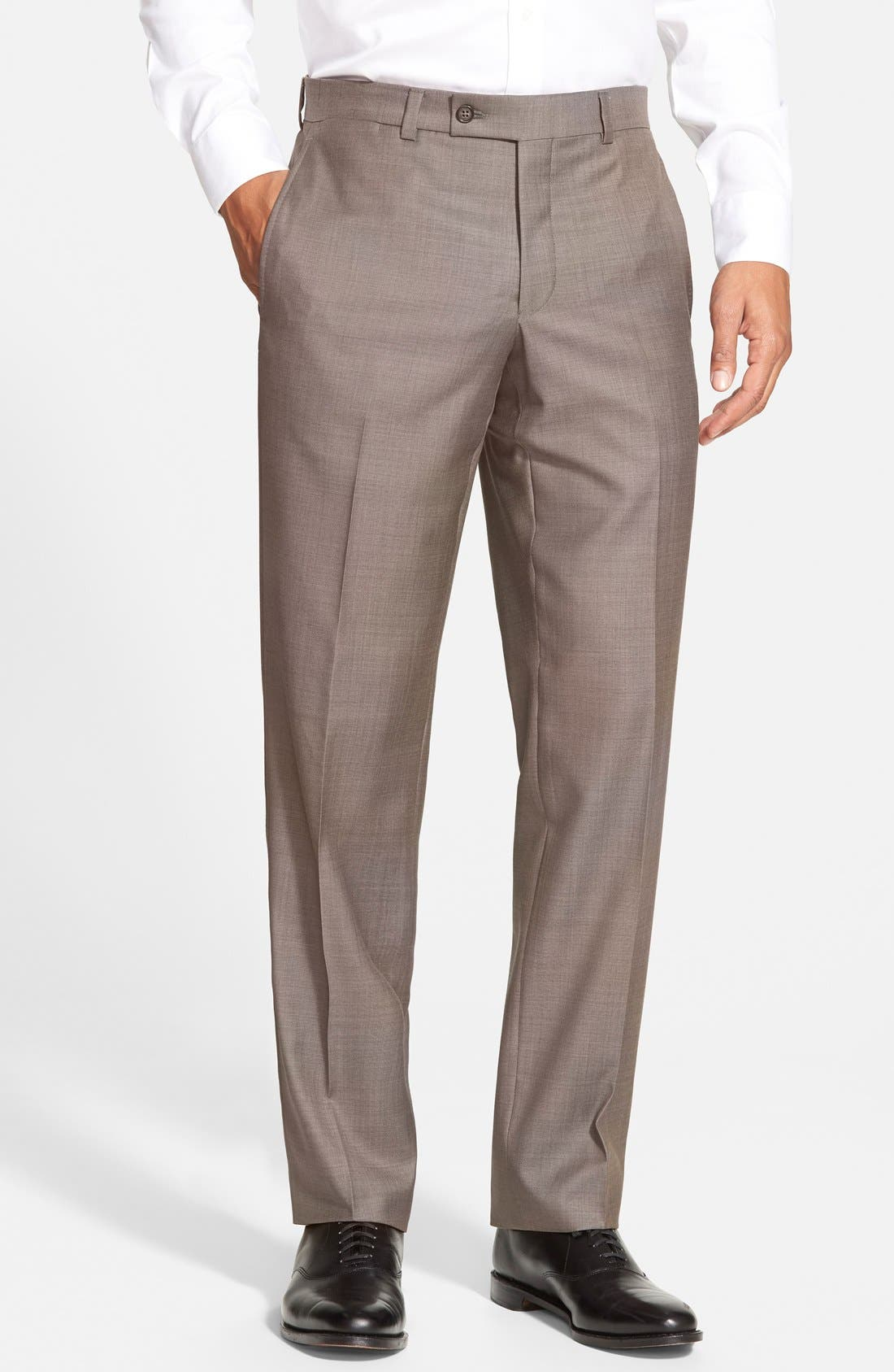 Jefferson Flat Front Wool Trousers,                             Main thumbnail 3, color,
