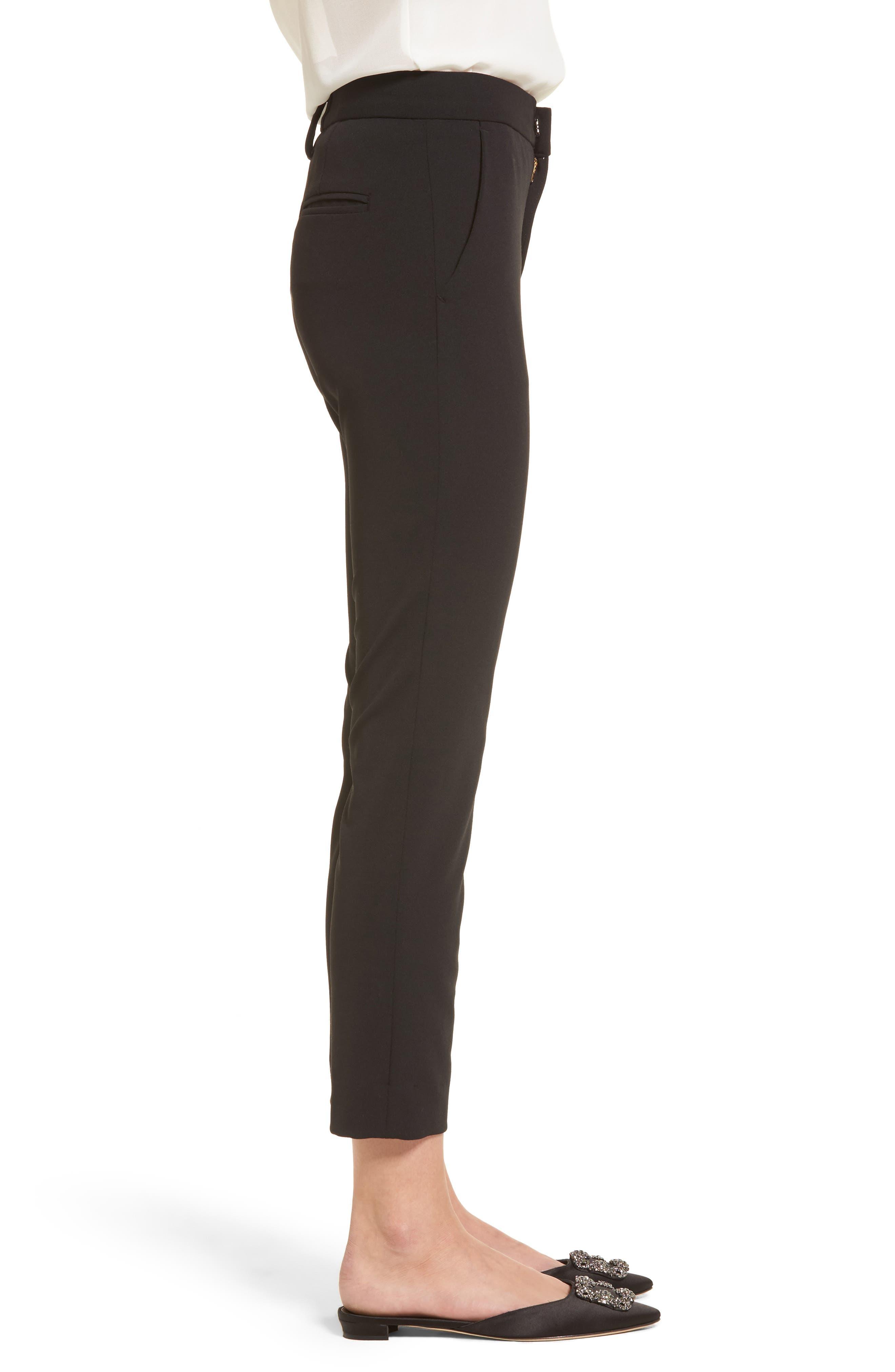 Lou Lou High Waist Crop Slim Trousers,                             Alternate thumbnail 3, color,                             001