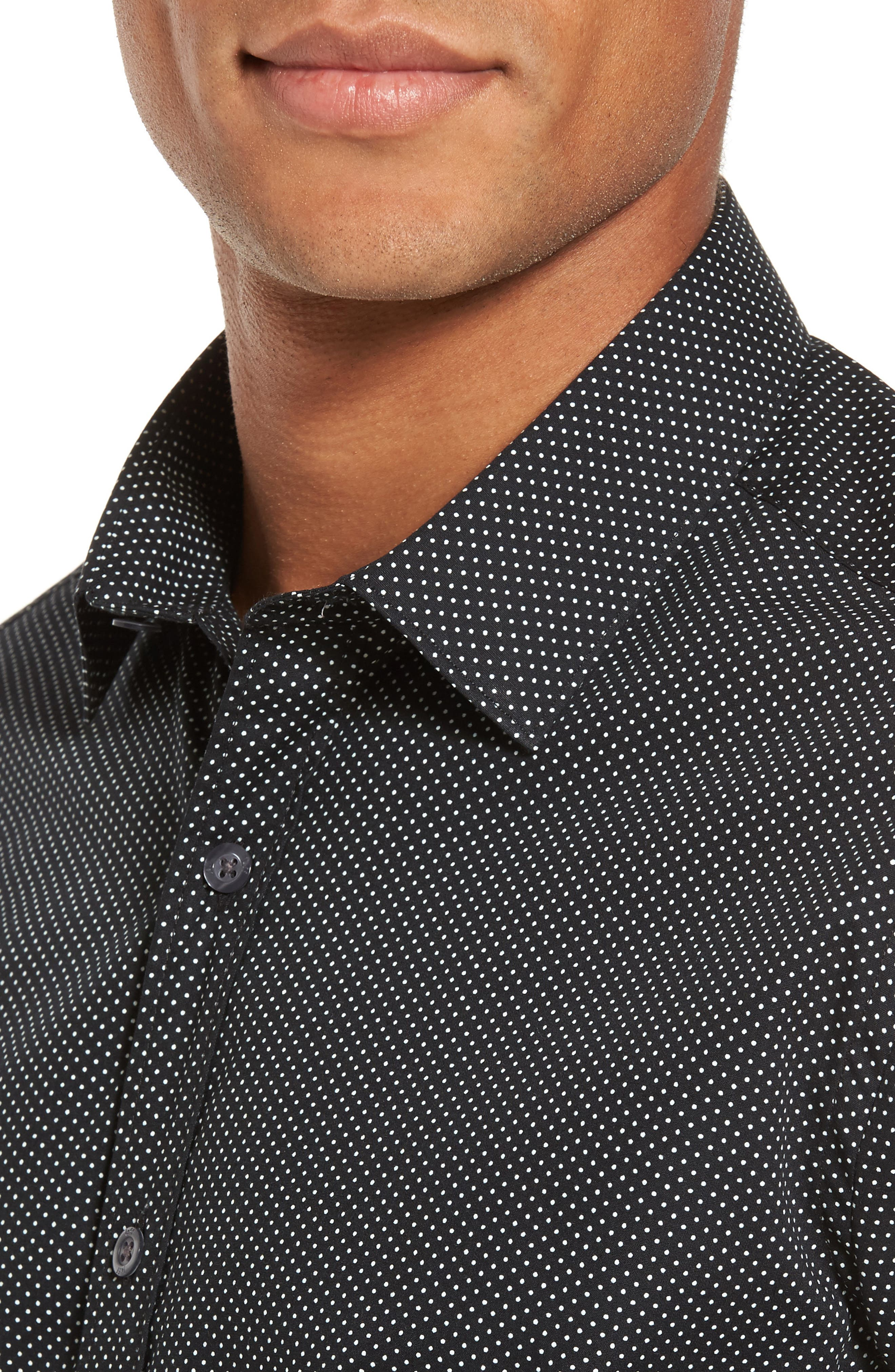 Slim Fit Print Sport Shirt,                             Alternate thumbnail 4, color,                             001