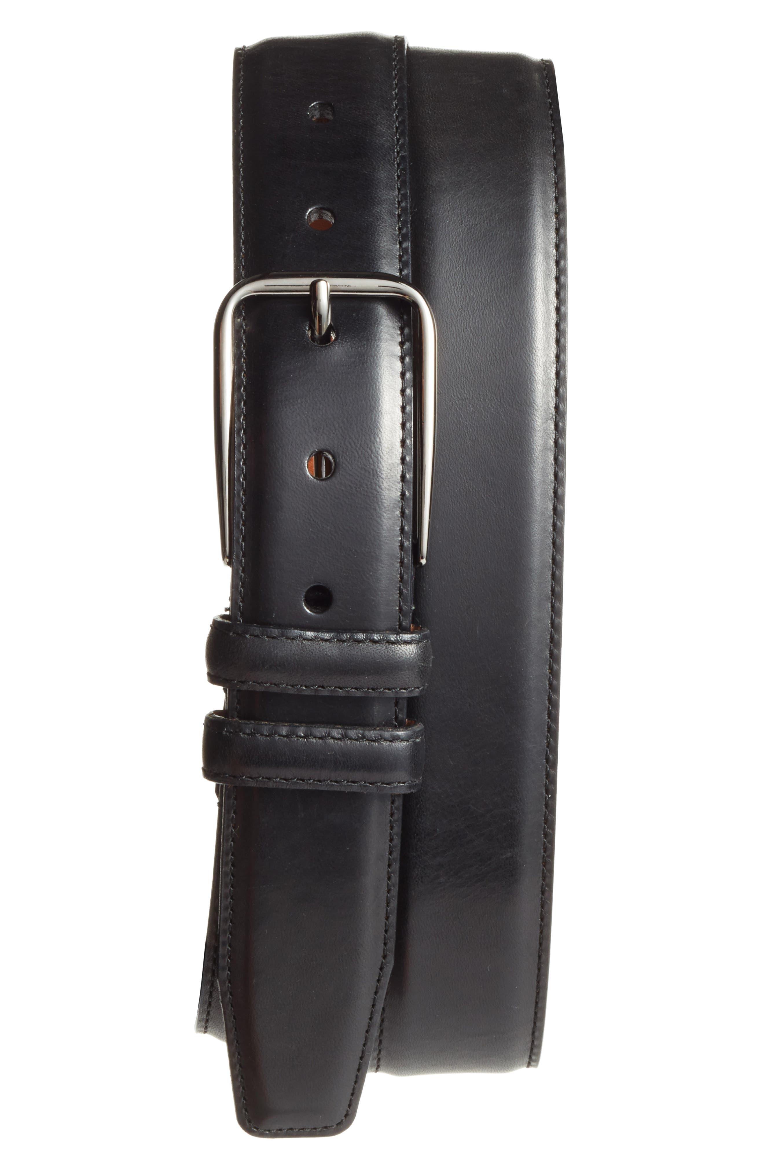 Parker Leather Belt,                             Main thumbnail 1, color,                             001
