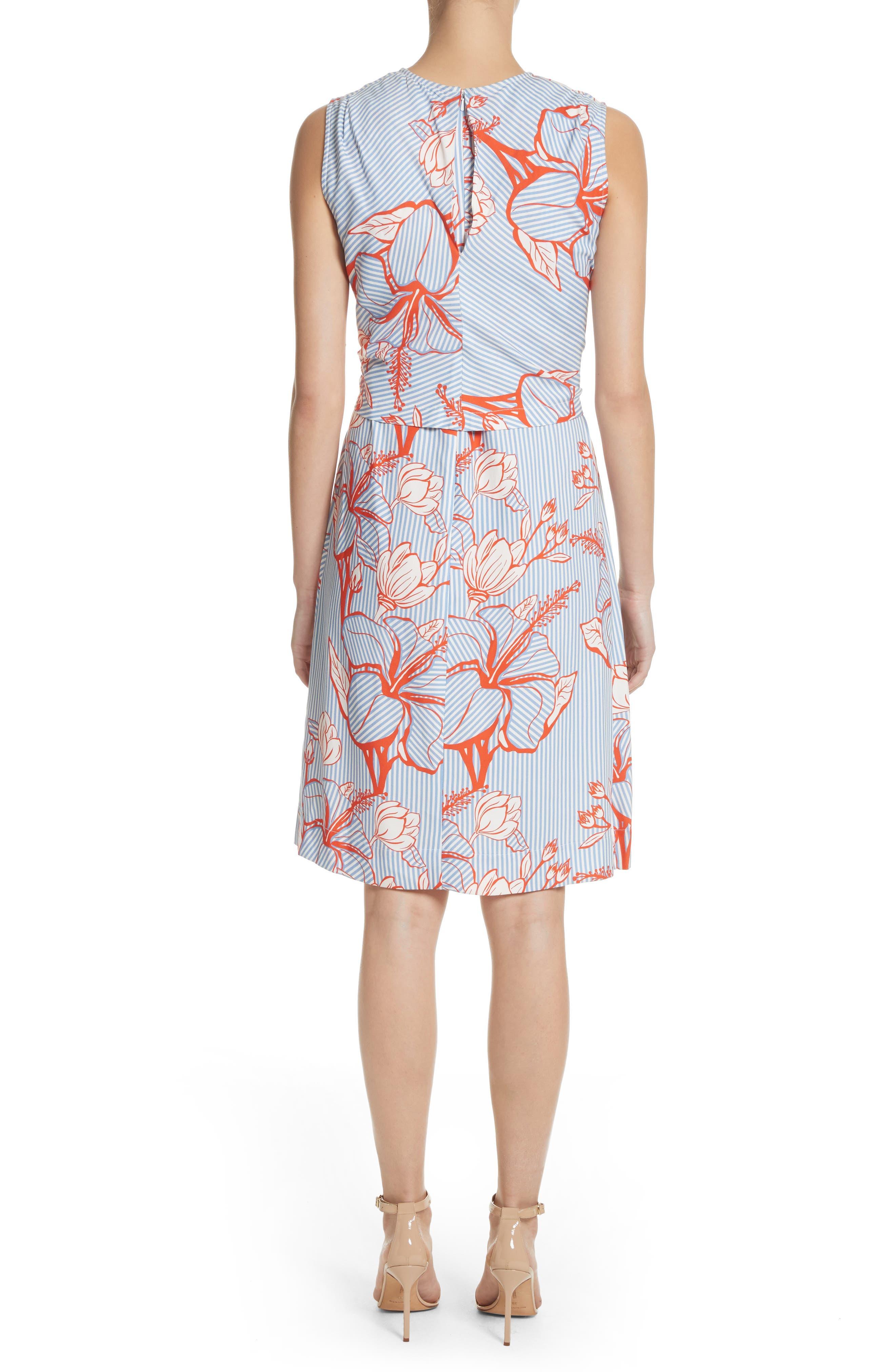Tie Front Floral Stripe Dress,                             Alternate thumbnail 2, color,