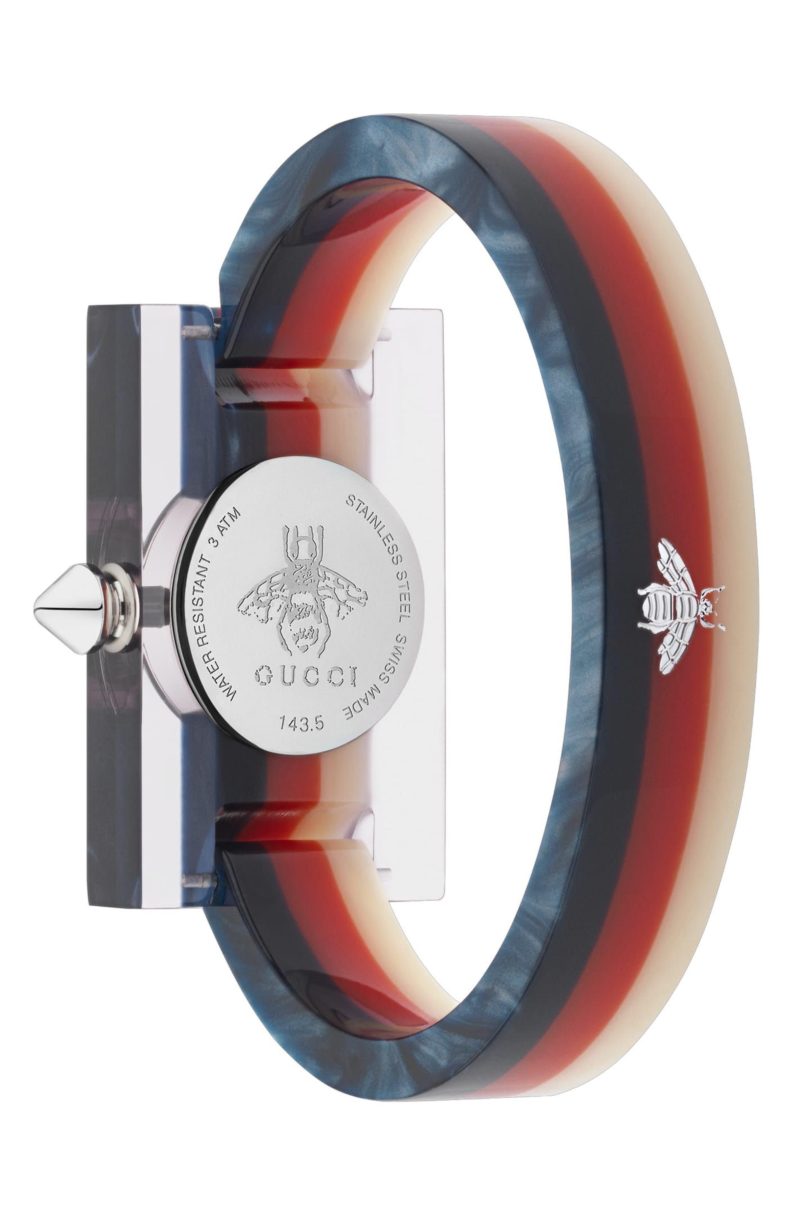 GUCCI,                             Plexiglas Bracelet Watch, 24mm x 40mm,                             Alternate thumbnail 2, color,                             PINK/ RED/ GREEN