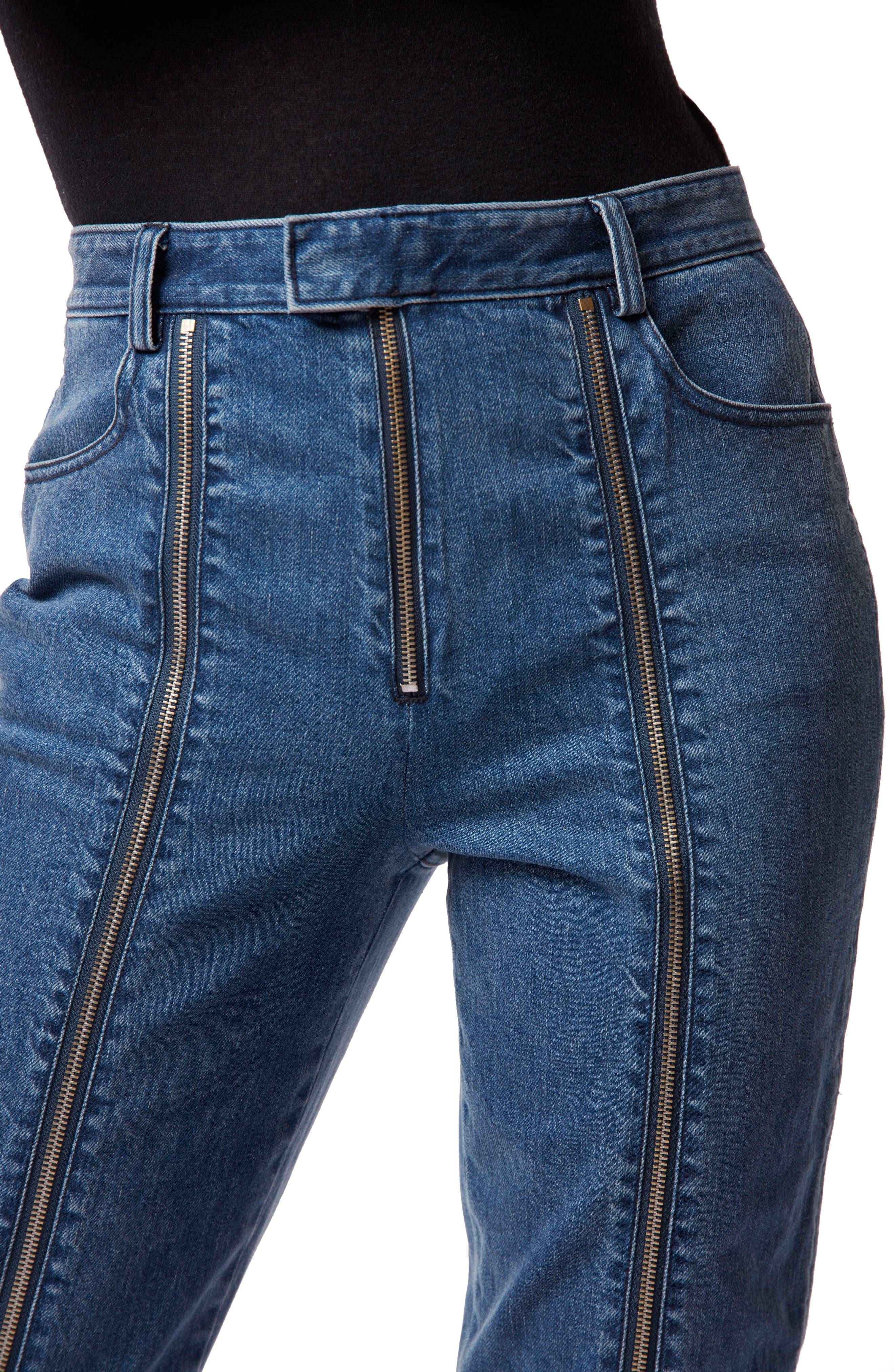 Connie High Waist Zip Ankle Straight Leg Jeans,                             Alternate thumbnail 4, color,                             STUN