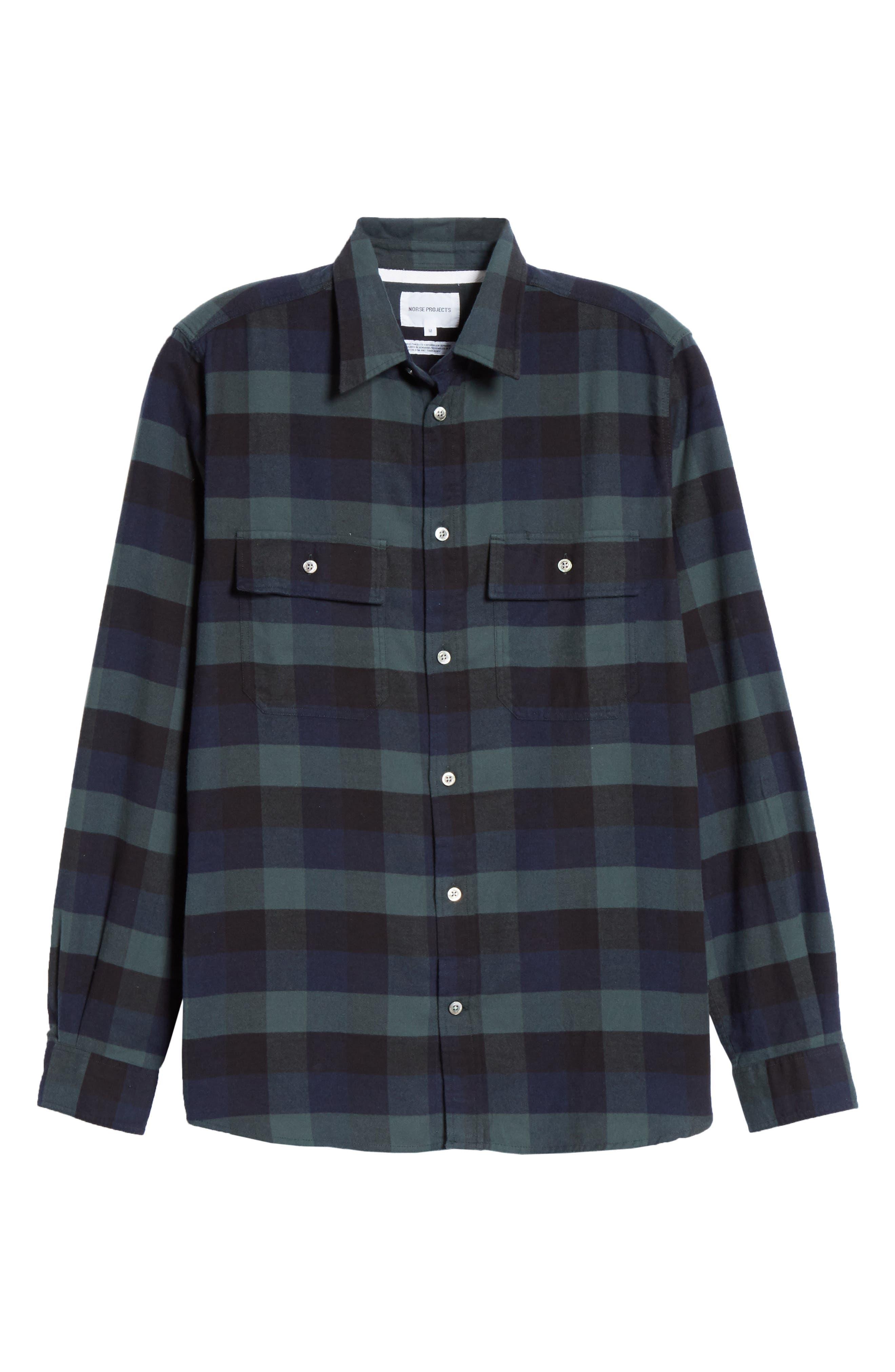 Villads Check Brushed Flannel Shirt,                             Alternate thumbnail 5, color,                             DARK NAVY