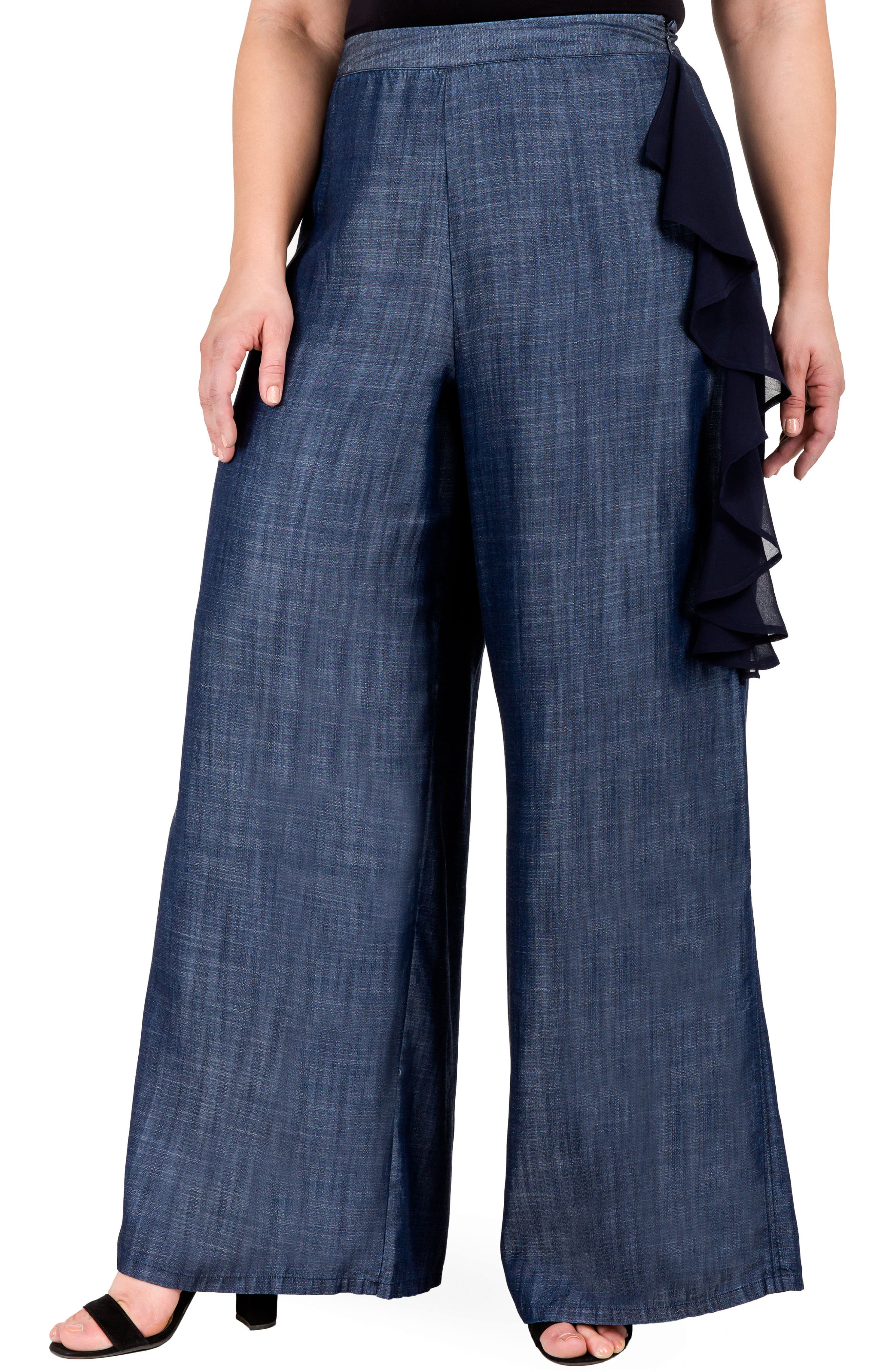 Olga Wide Leg Denim Pants,                             Alternate thumbnail 4, color,                             INDIGO