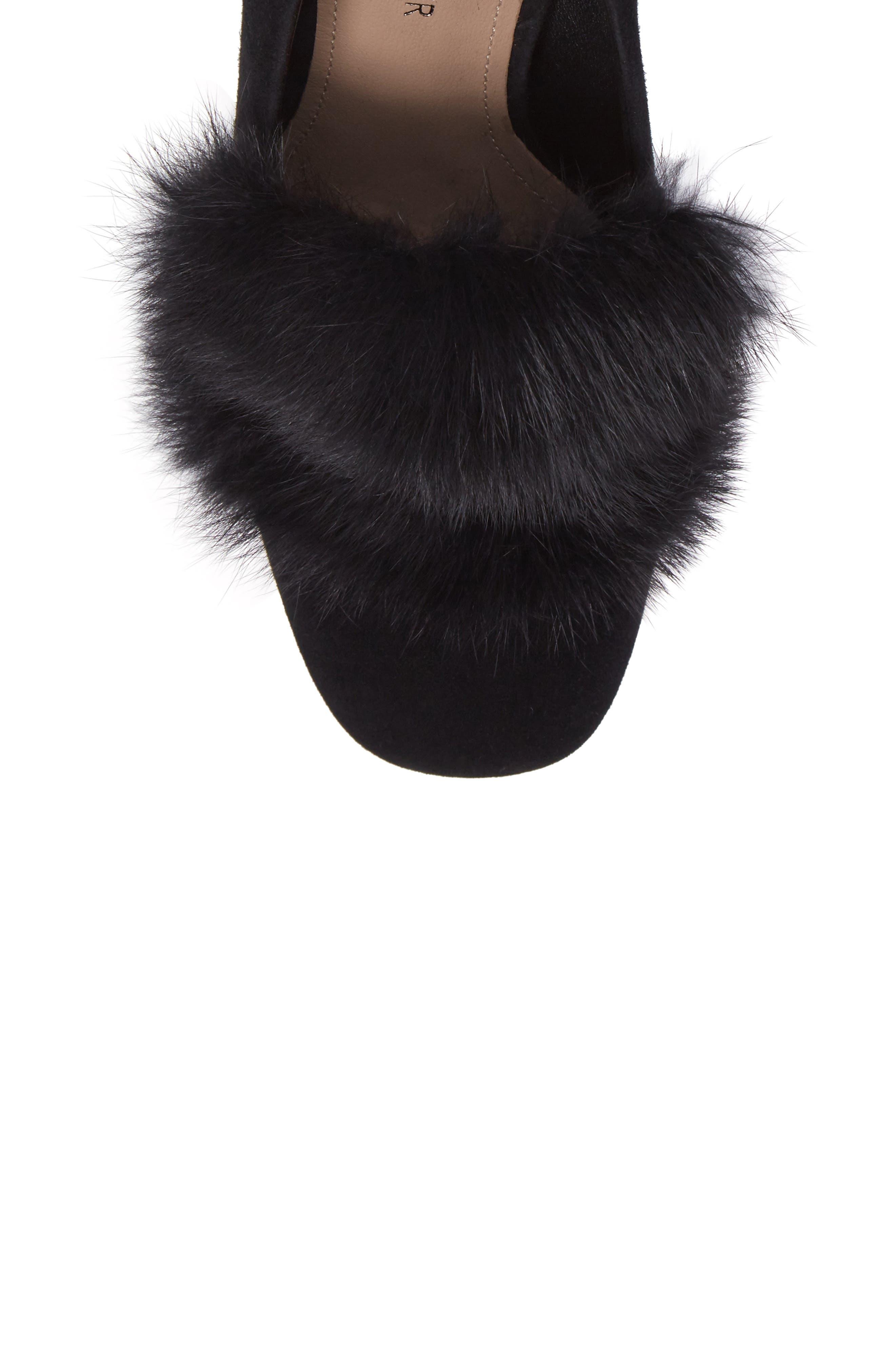 Donald J Pliner Faune Genuine Rabbit Fur Pump,                             Alternate thumbnail 5, color,                             001