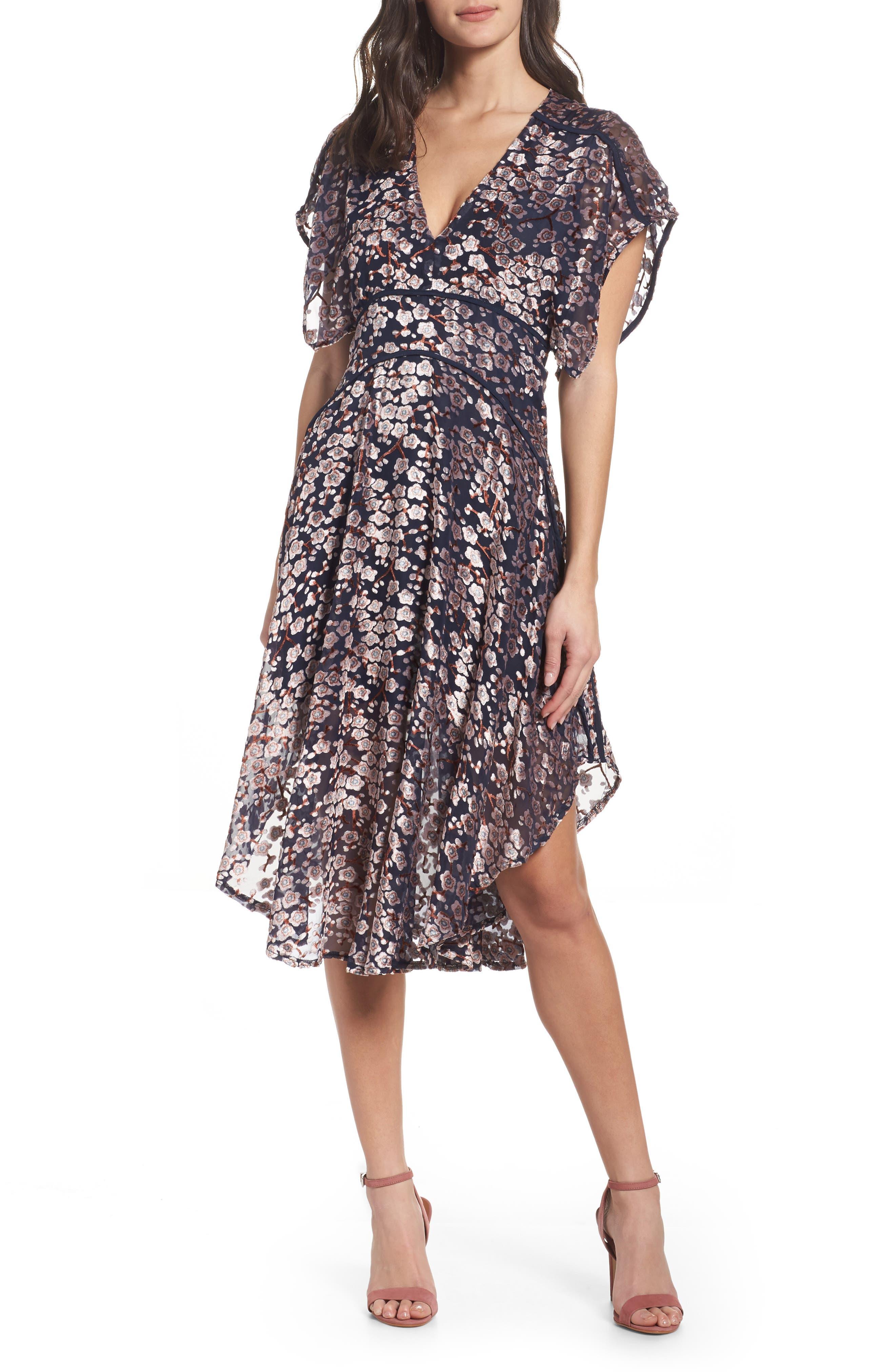 Cosimia Burnout Velvet Midi Dress,                             Main thumbnail 1, color,                             026