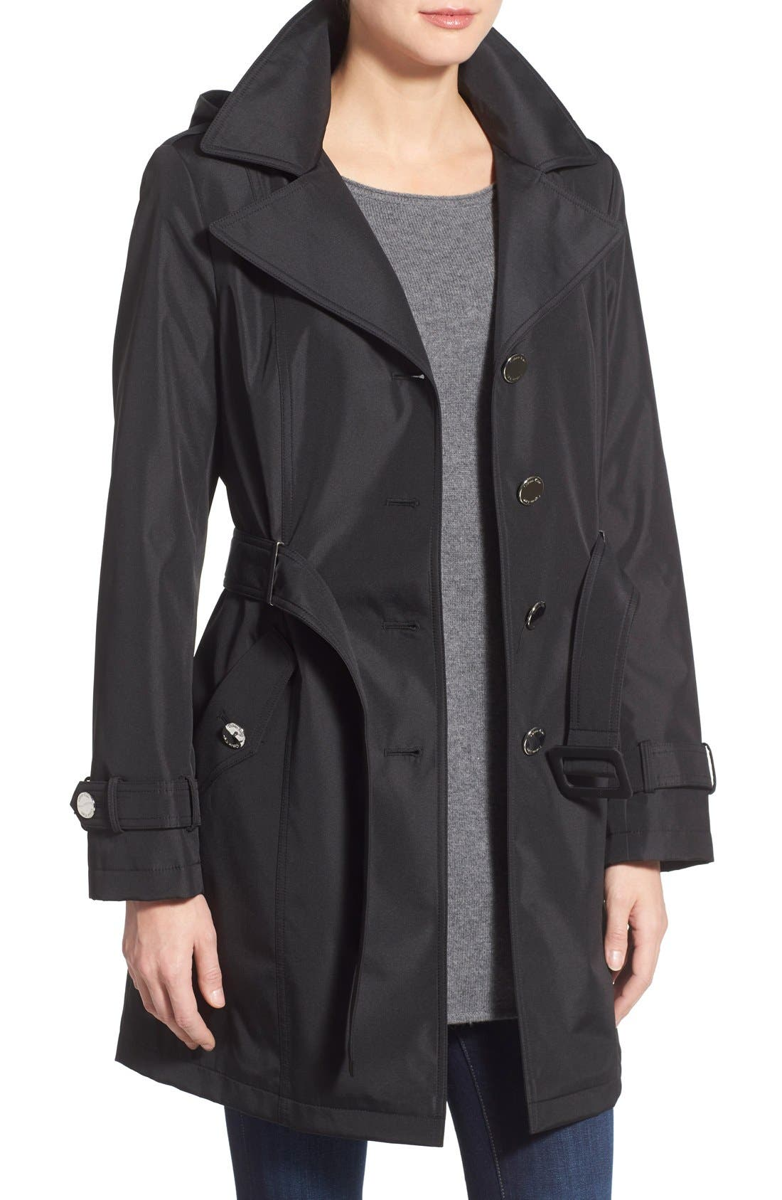 Single Breasted Belted Trench Coat,                             Alternate thumbnail 3, color,                             001