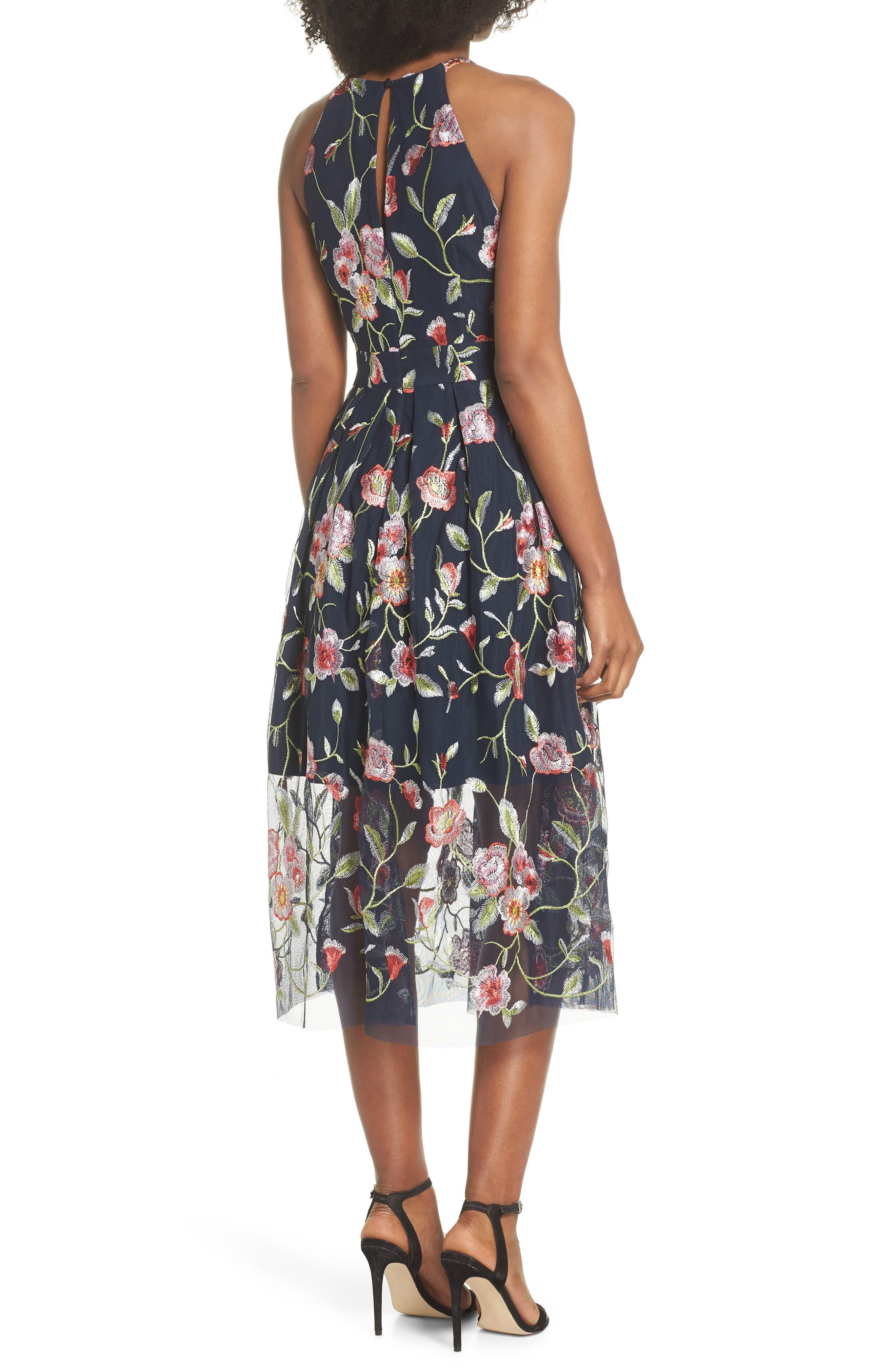 Embroidered Midi Dress,                             Alternate thumbnail 2, color,                             470