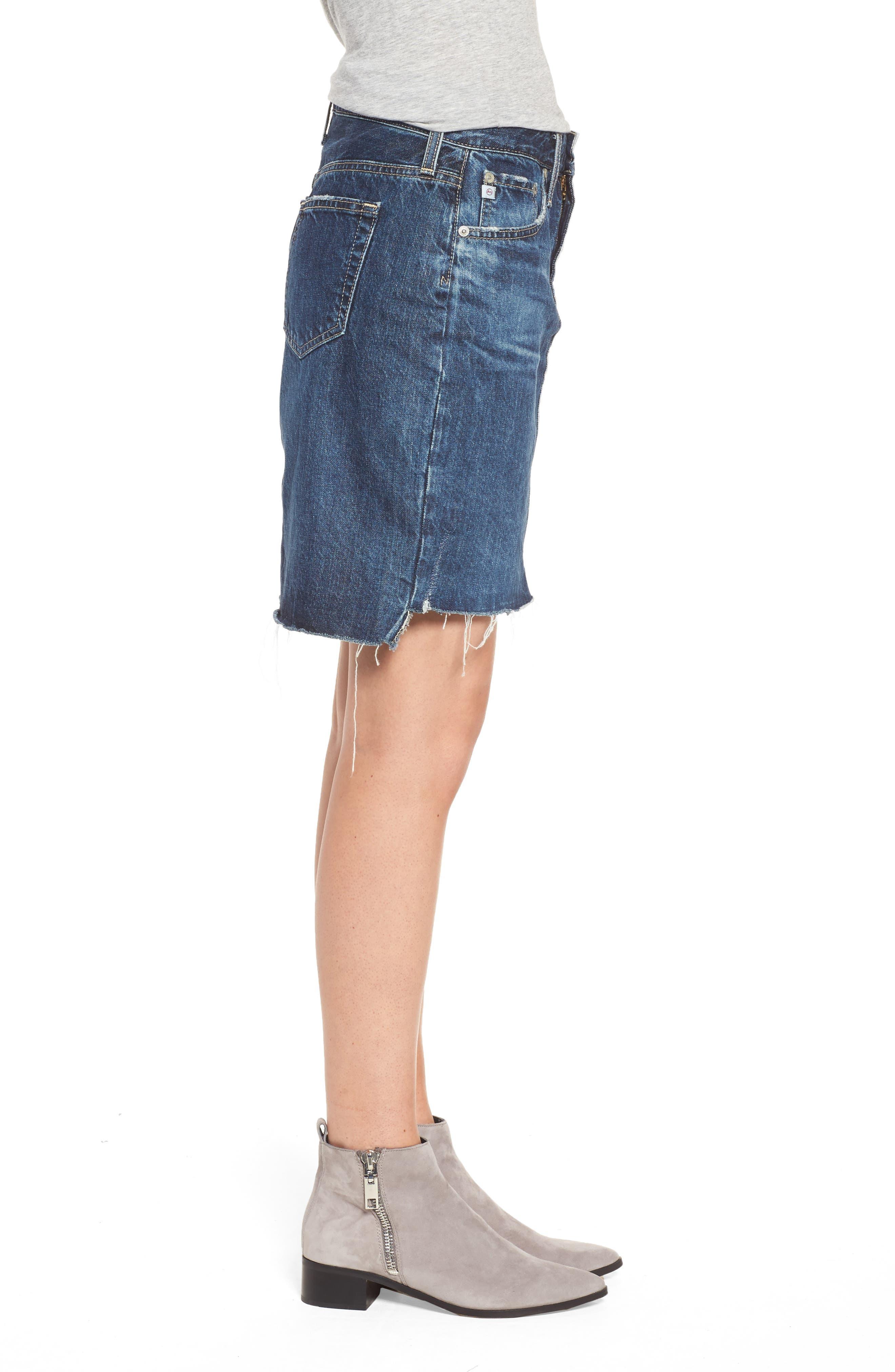 Erin Step Hem Denim Skirt,                             Alternate thumbnail 3, color,                             404