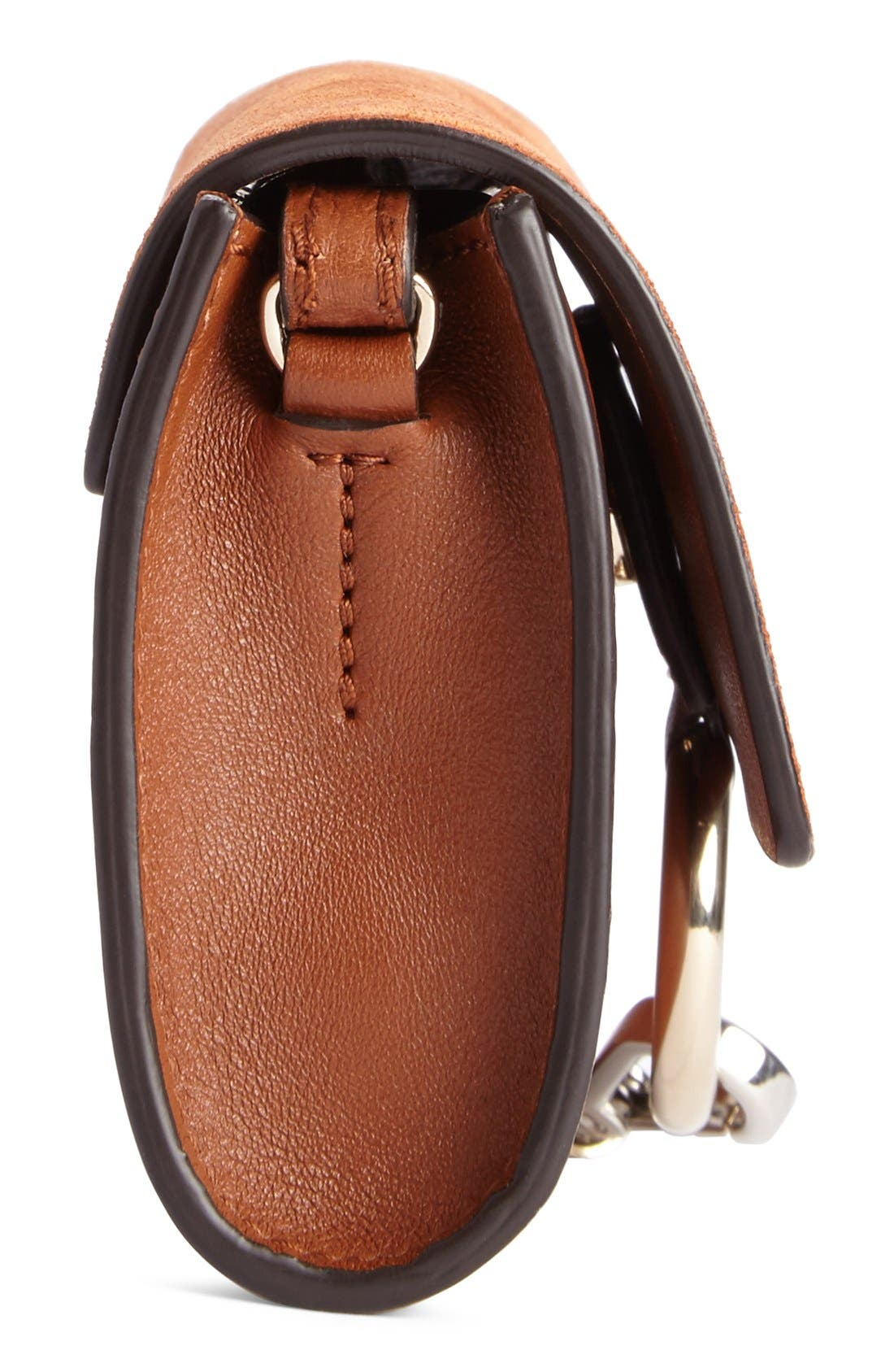 Mini Faye Suede & Leather Wallet on a Chain,                             Alternate thumbnail 5, color,                             CLASSIC TOBACCO