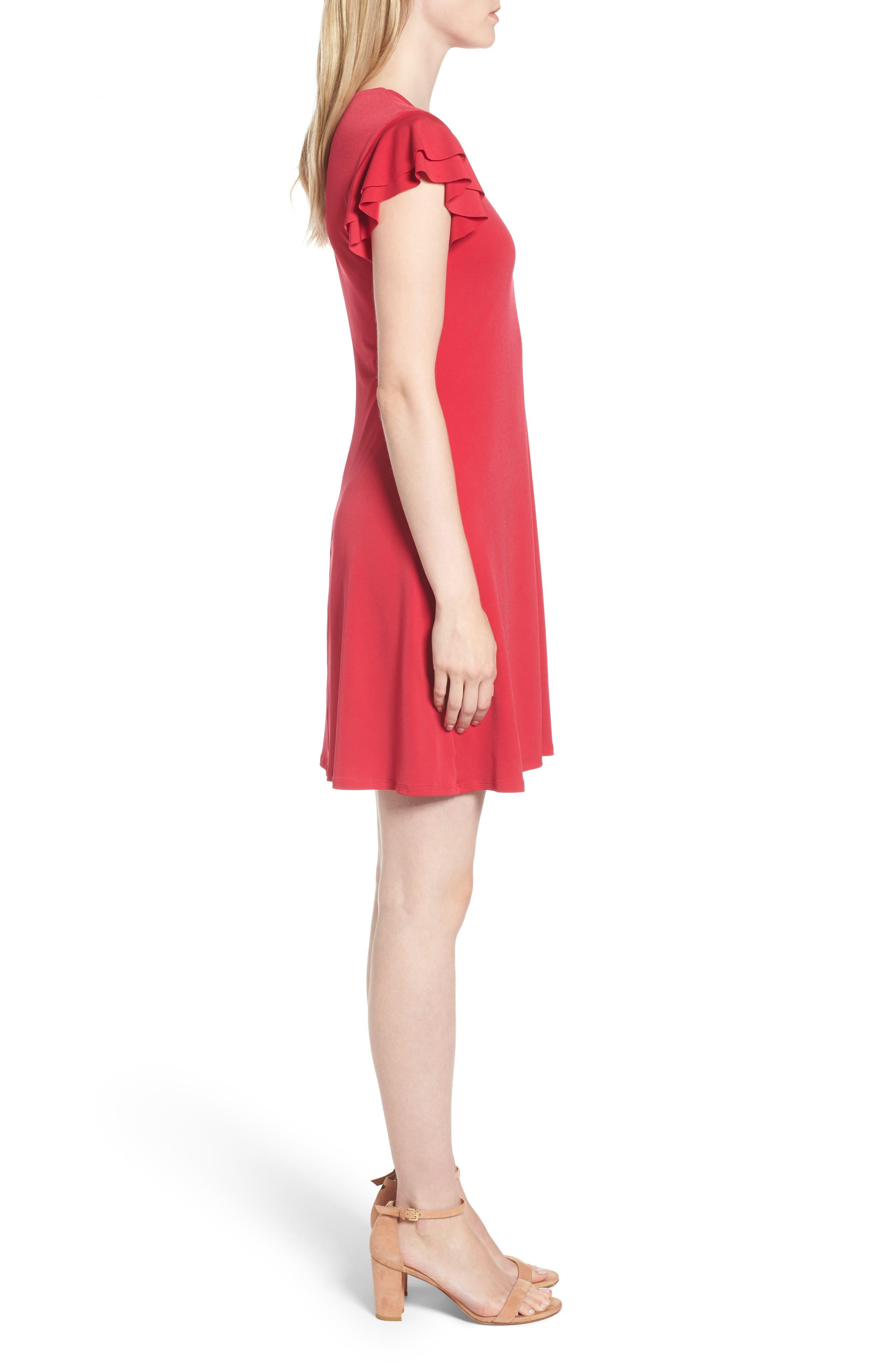 Flutter Sleeve Stretch Jersey Dress,                             Alternate thumbnail 3, color,