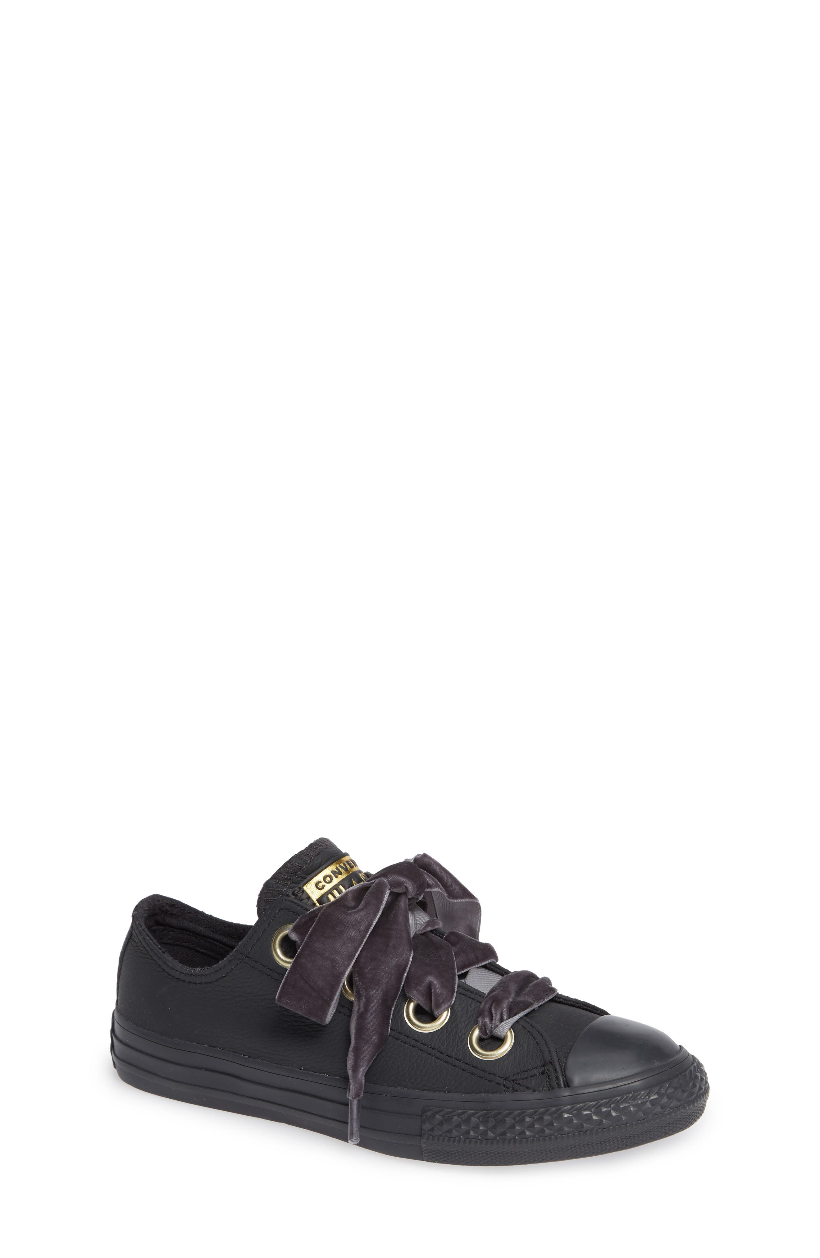 Chuck Taylor<sup>®</sup> All Star<sup>®</sup> Big Eyelet Leather Sneaker,                         Main,                         color, BLACK