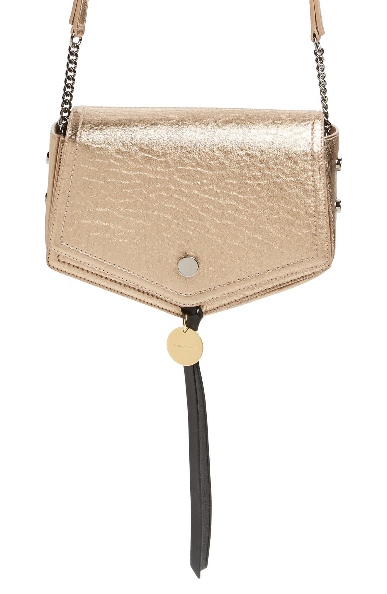 Arrow Metallic Grained Leather Shoulder Bag,                             Alternate thumbnail 21, color,