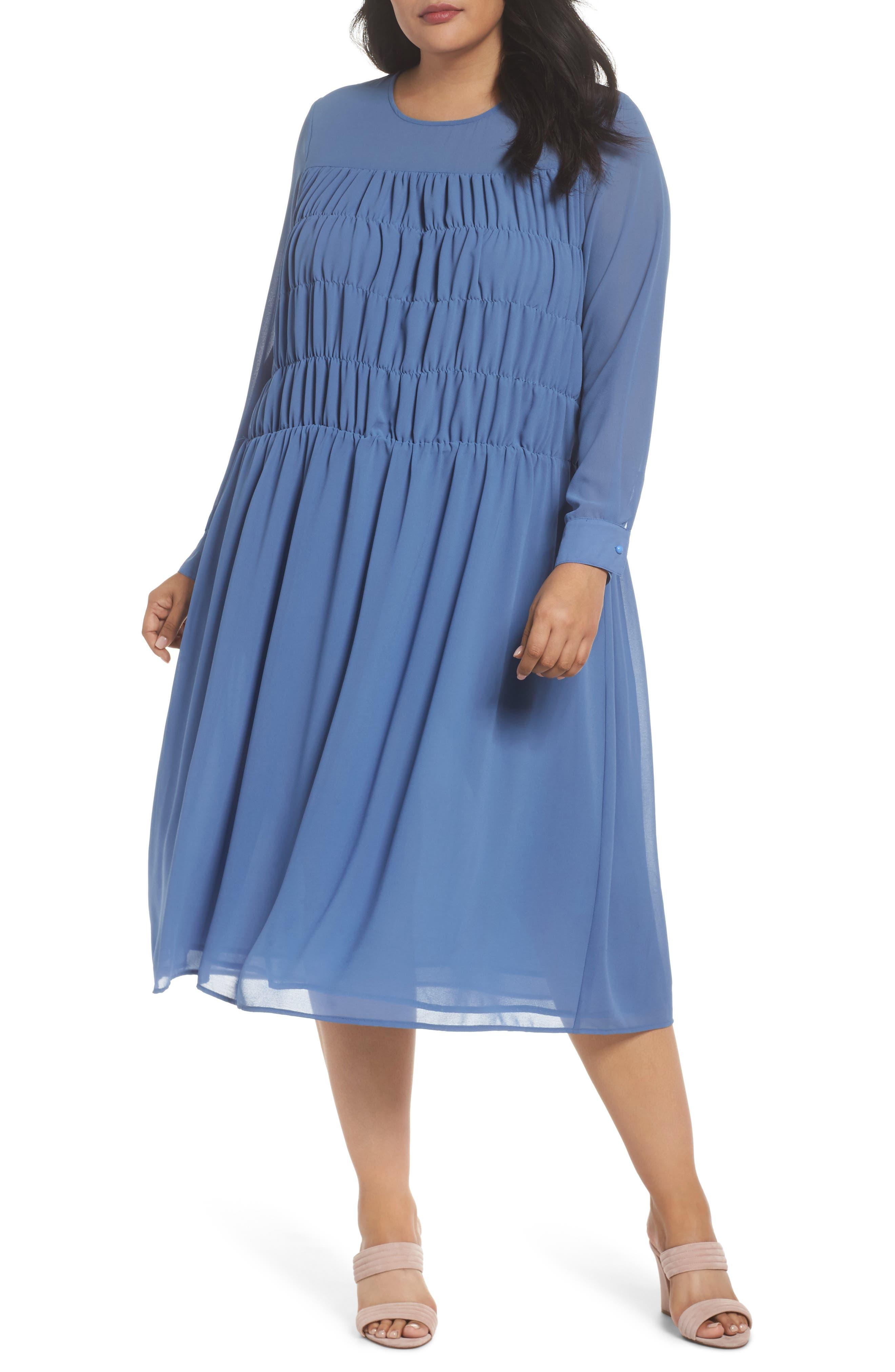 Smocked Chiffon Dress,                         Main,                         color, 400