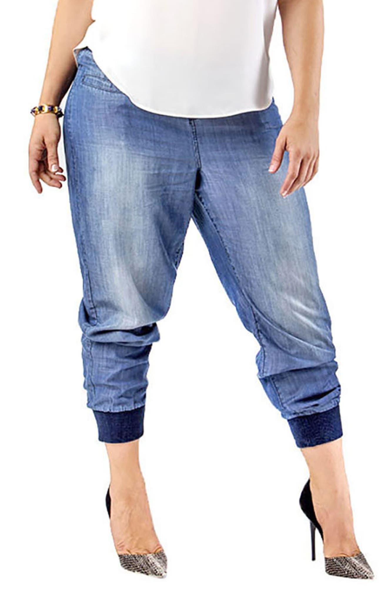 Marcie High Rise Lightweight Denim Jogger Pants,                         Main,                         color, BLUE