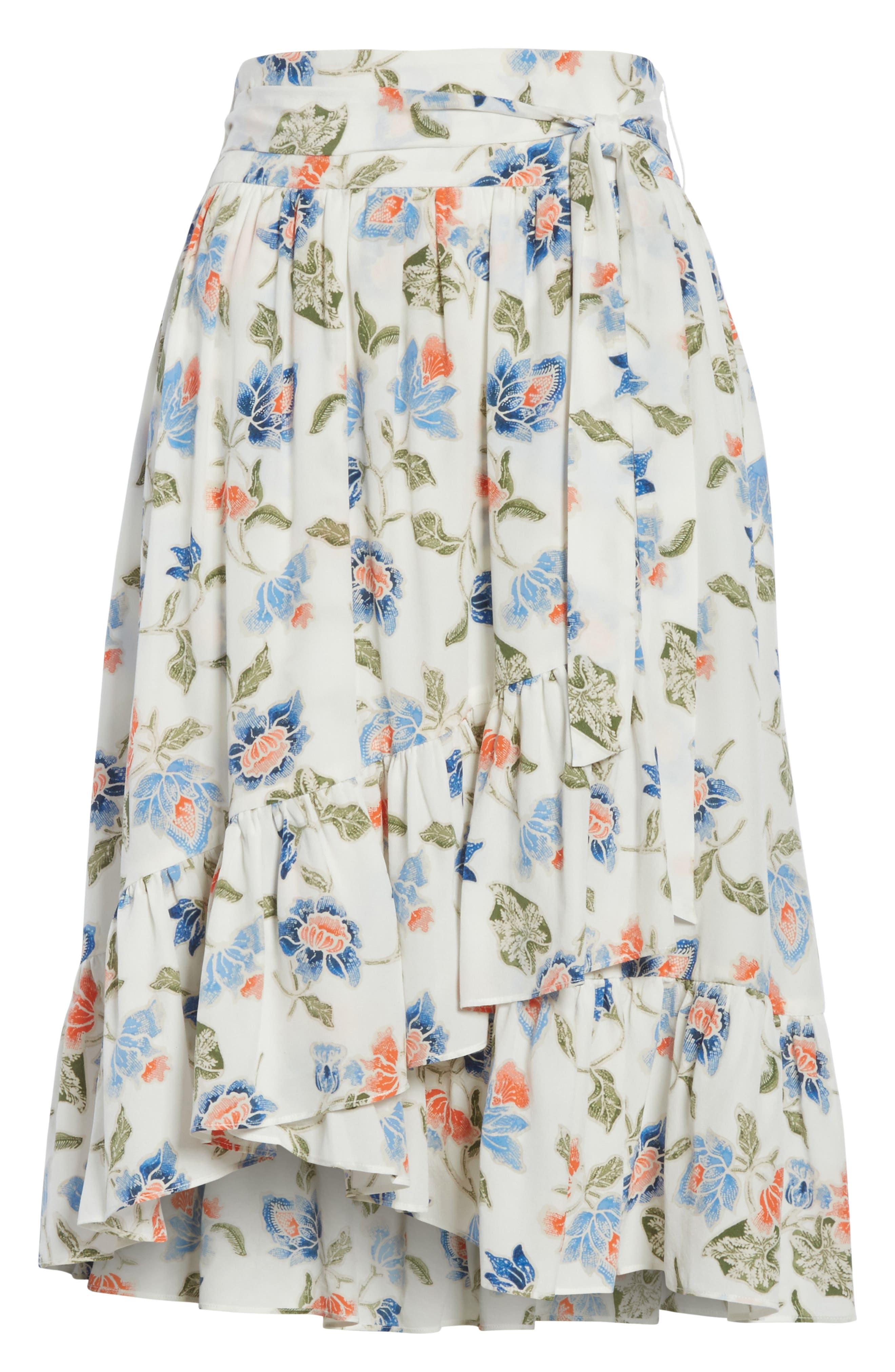 Denisha Floral Ruffle Silk Skirt,                             Alternate thumbnail 6, color,                             114