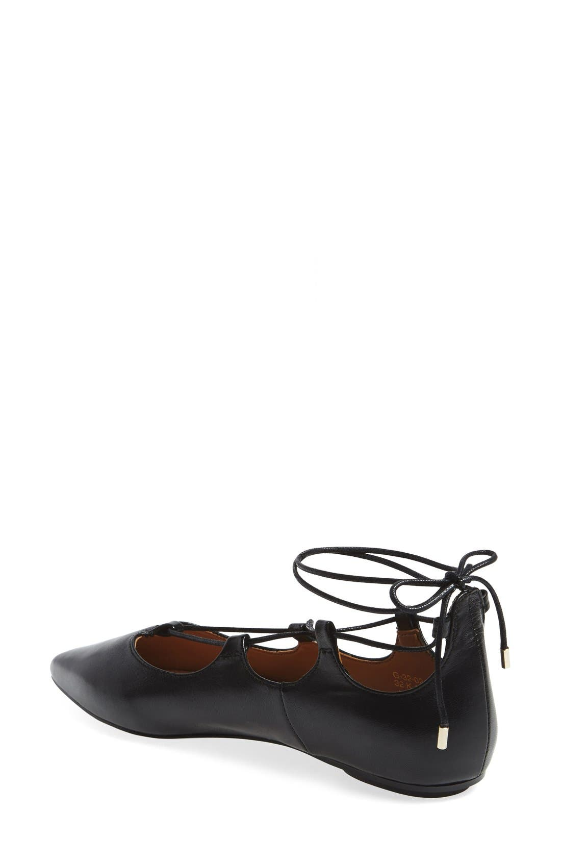 'Leather Kingdom' Pointy Toe Flat,                             Alternate thumbnail 4, color,                             001