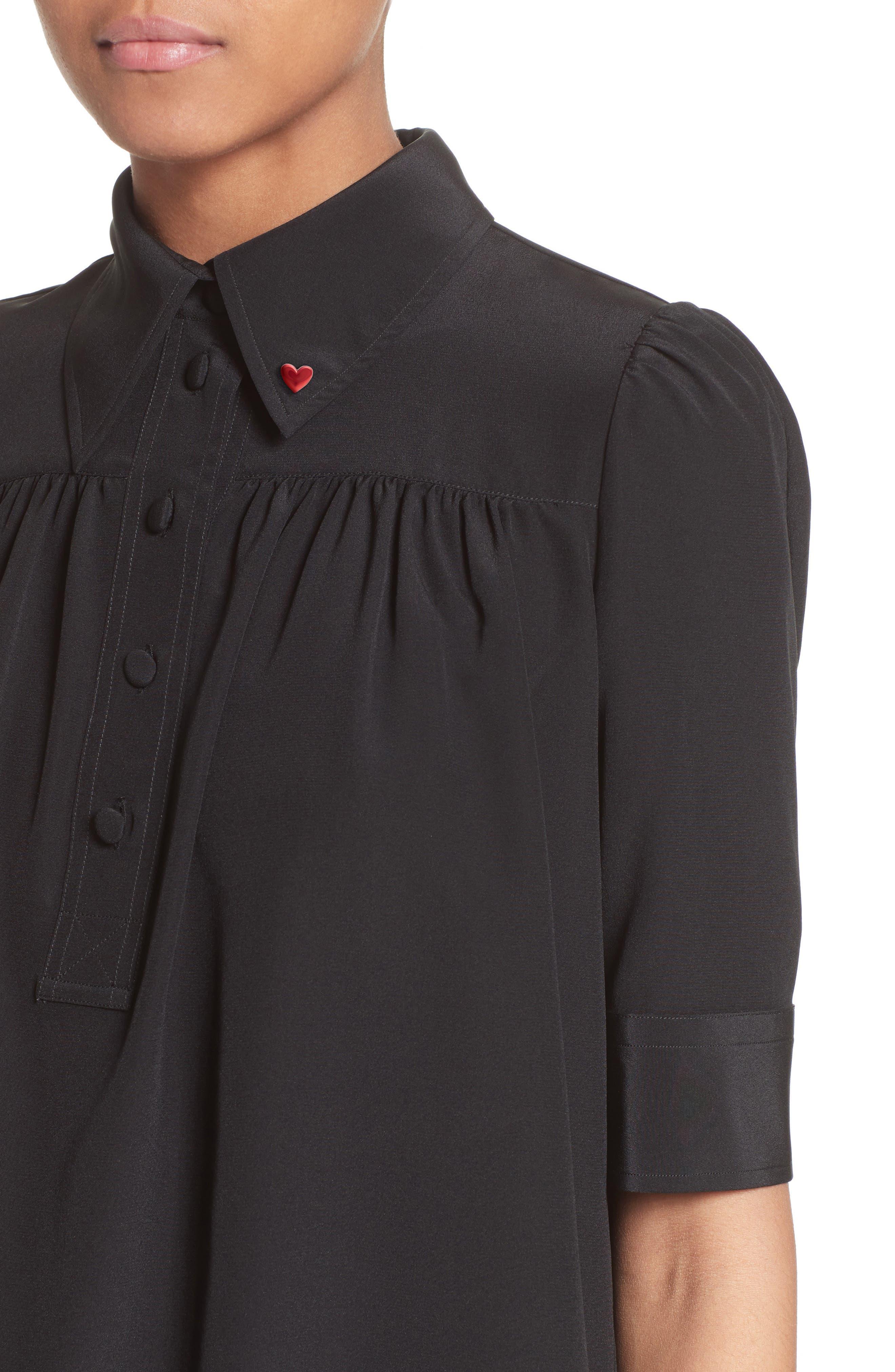 Silk Short Sleeve Blouse,                             Alternate thumbnail 4, color,                             001