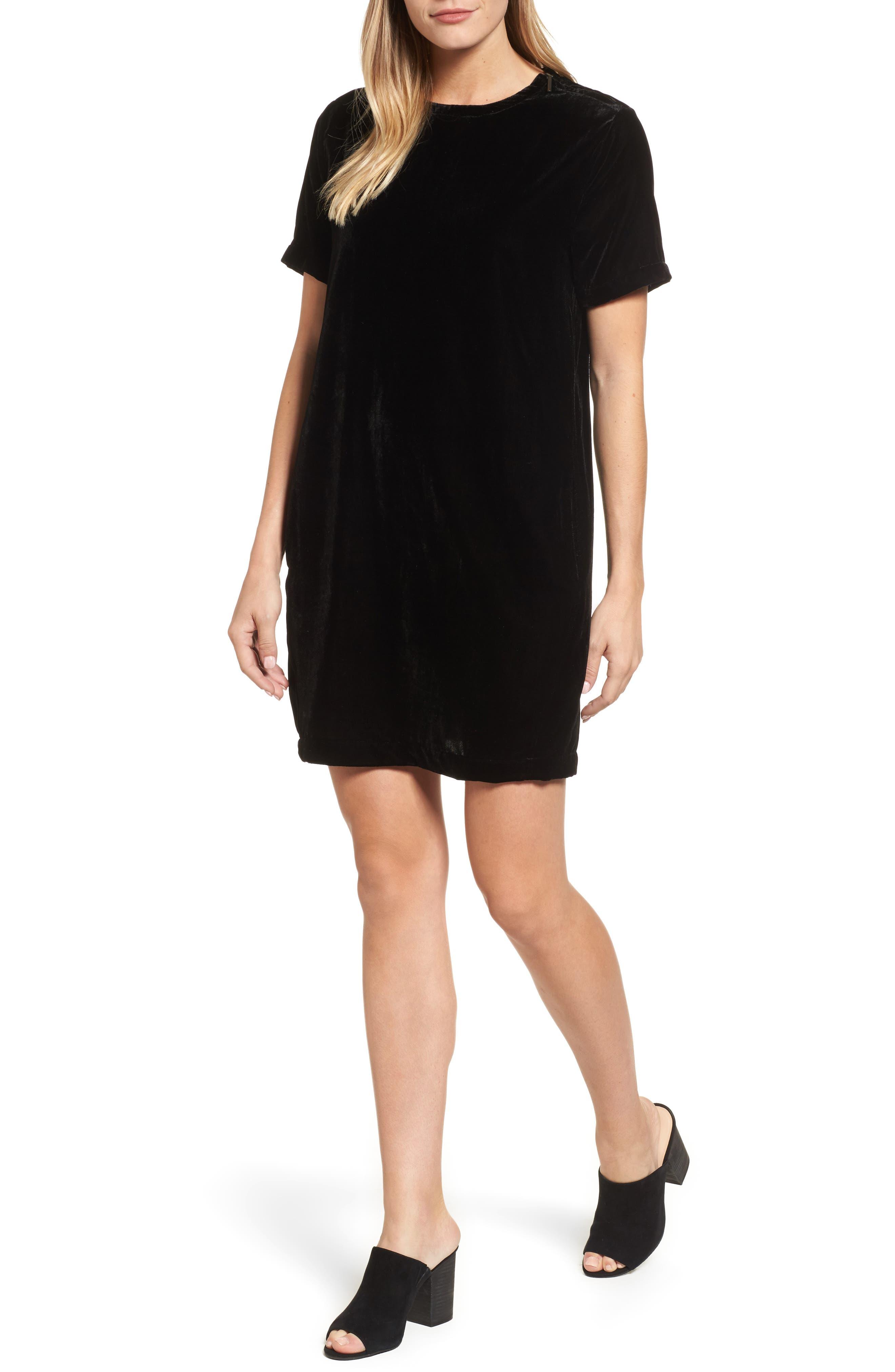 Zip Shoulder Velvet Shift Dress,                         Main,                         color, 001