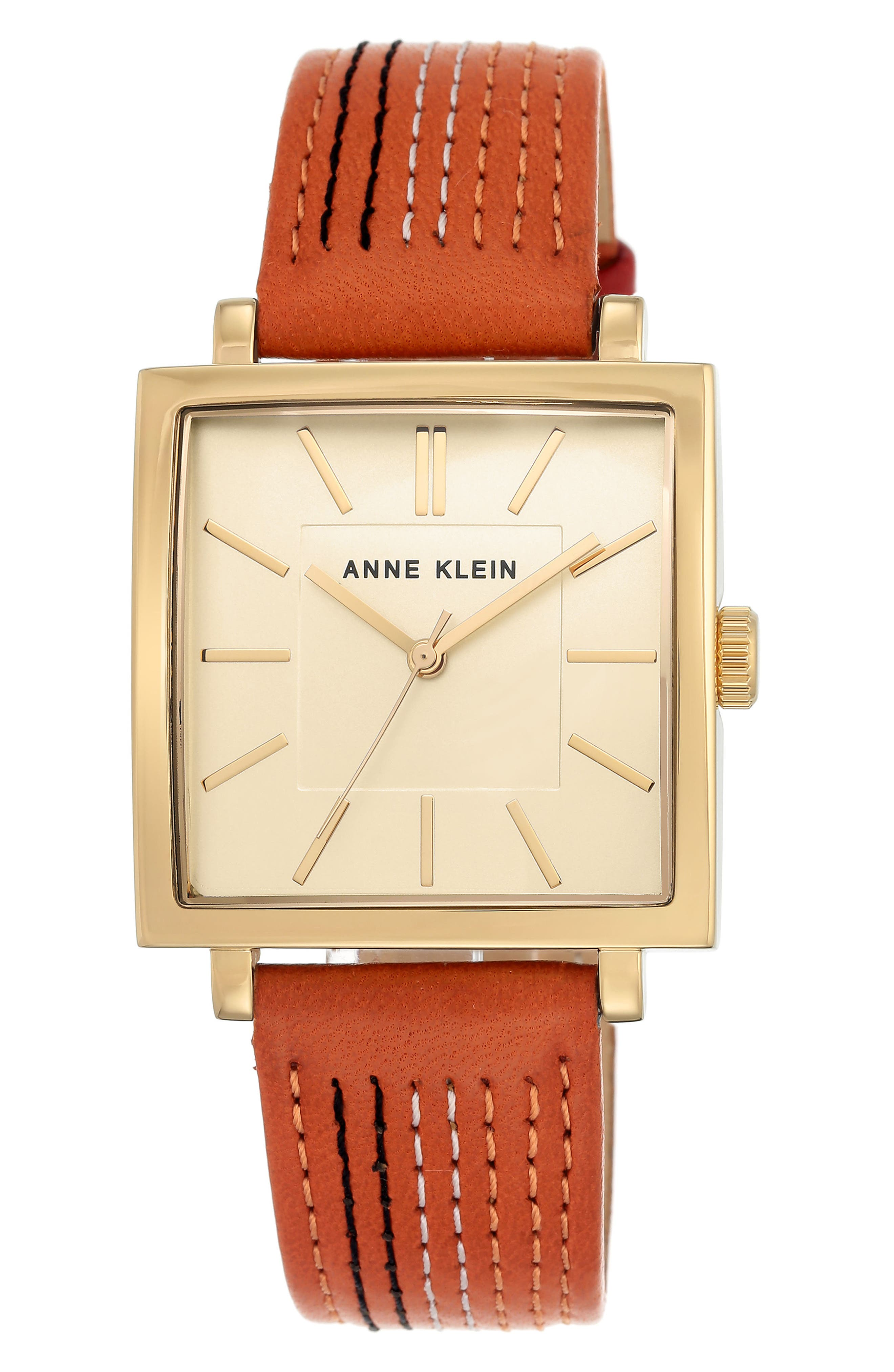 Square Leather Strap Watch, 42mm x 34mm,                             Main thumbnail 3, color,