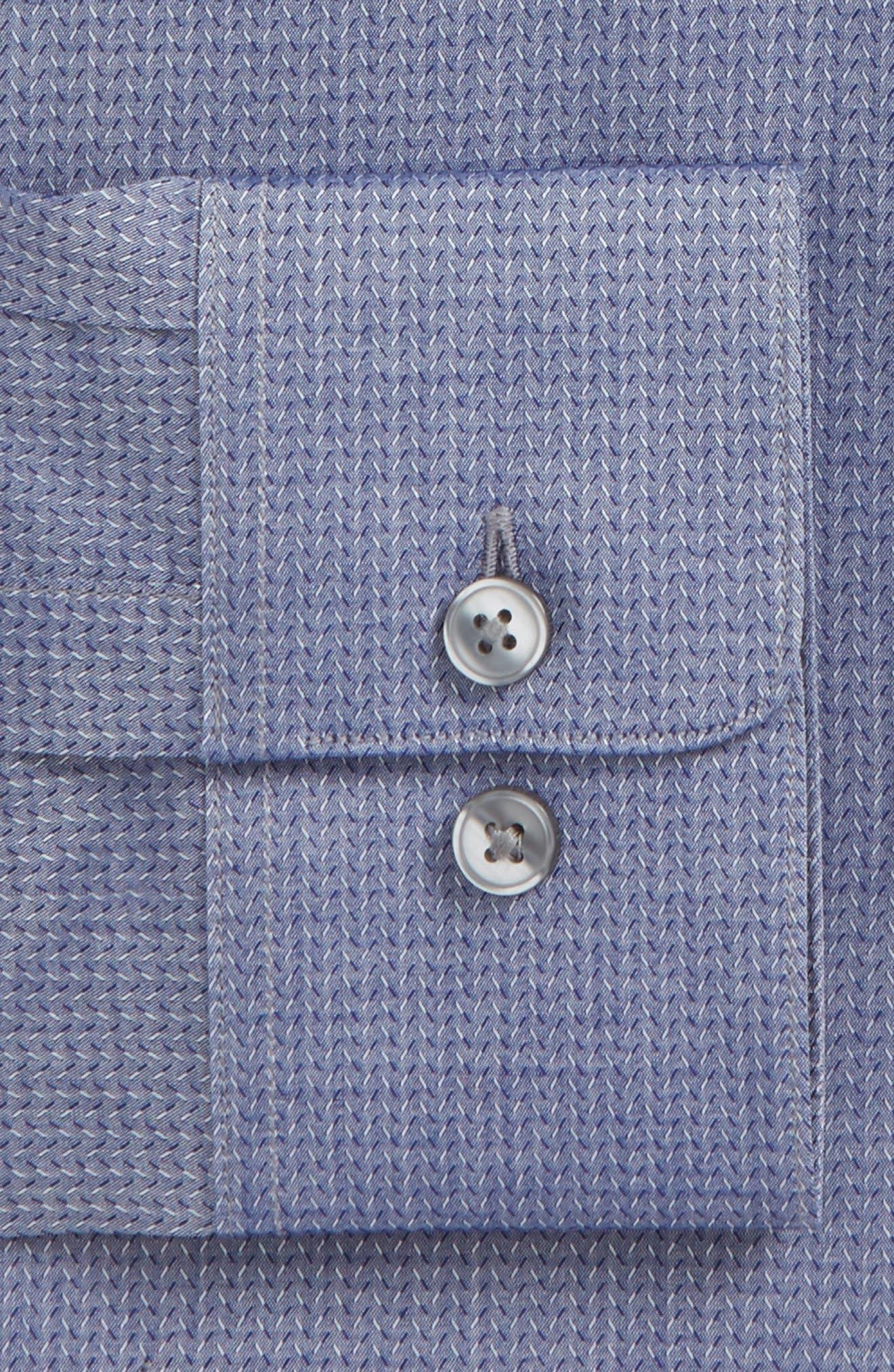 Regular Fit Stretch Print Dress Shirt,                             Alternate thumbnail 6, color,                             DEEP BLUE