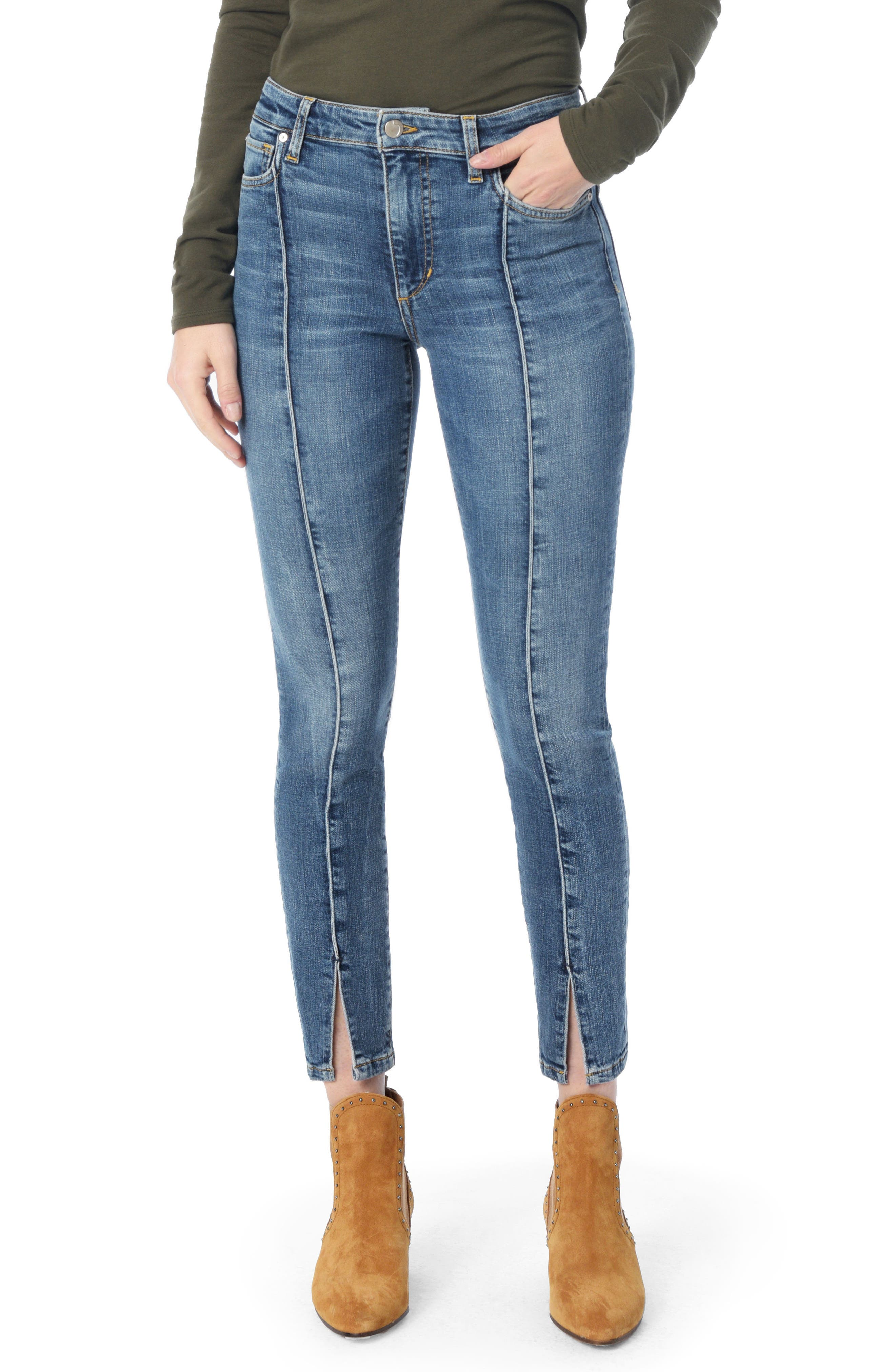 Charlie Pintuck High Waist Ankle Skinny Jeans, Main, color, SILVIA