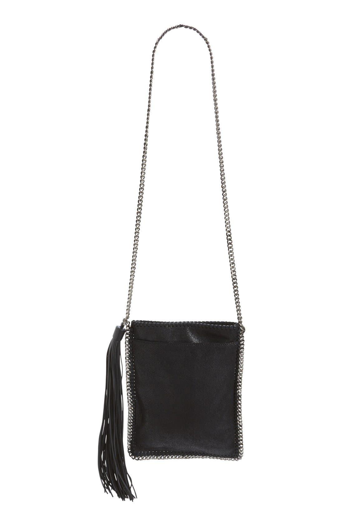 'Falabella' Faux Leather Shoulder Bag,                             Alternate thumbnail 4, color,                             001