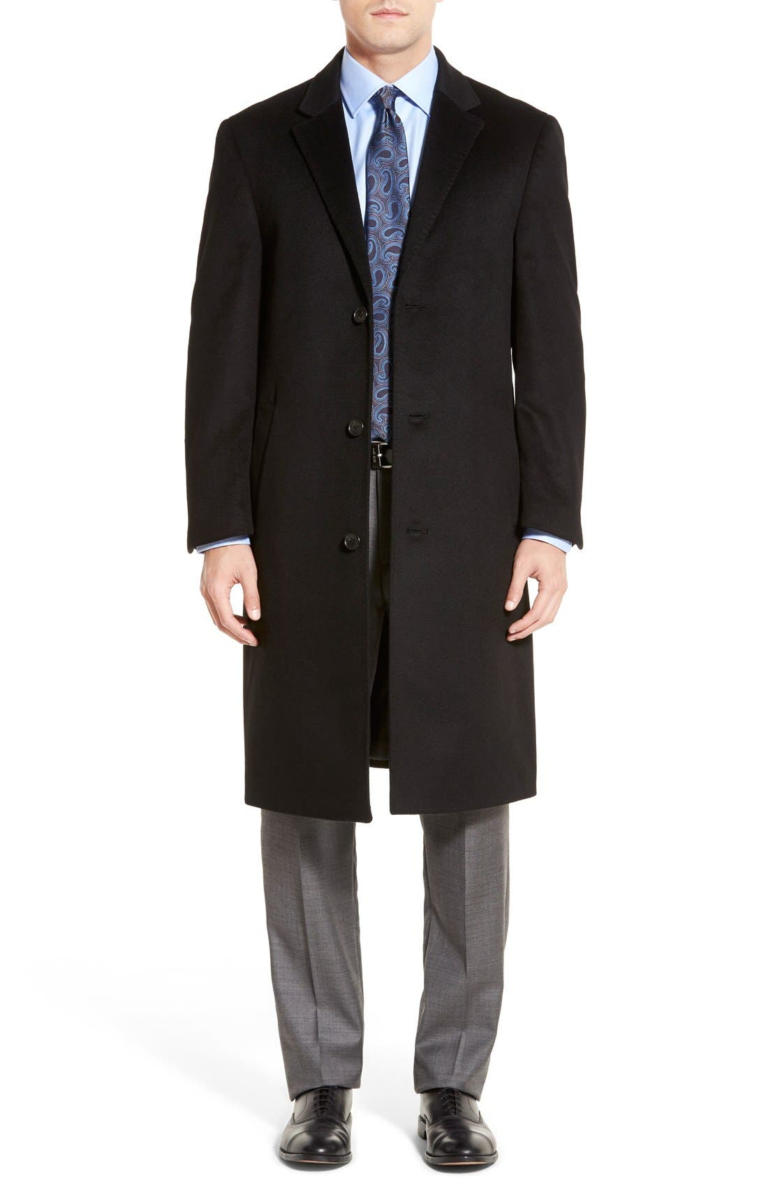 Sheffield Classic Fit Wool & Cashmere Overcoat,                         Main,                         color, BLACK