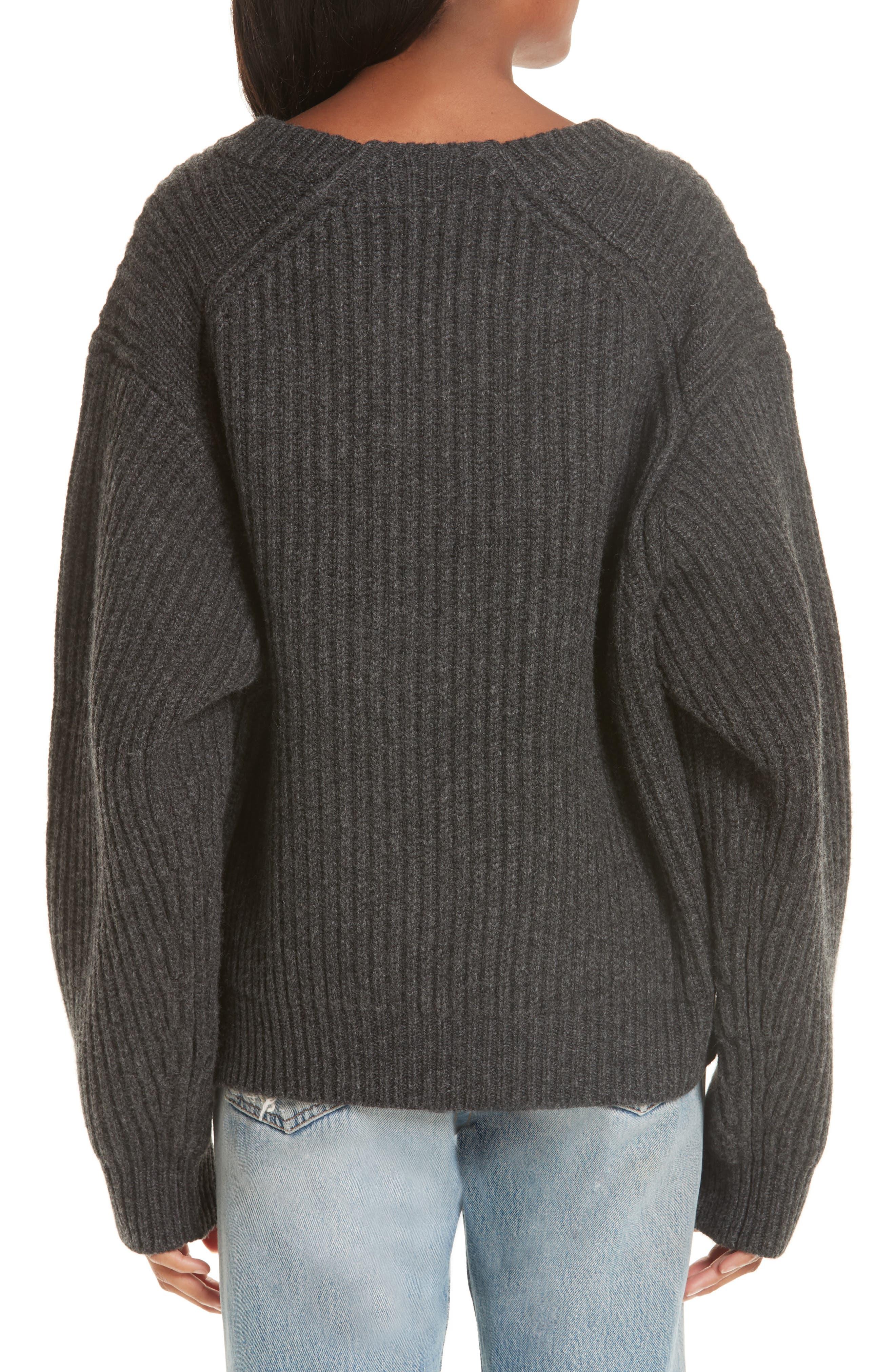 Ribbed Oversized Sweater,                             Alternate thumbnail 2, color,                             DARK GREY