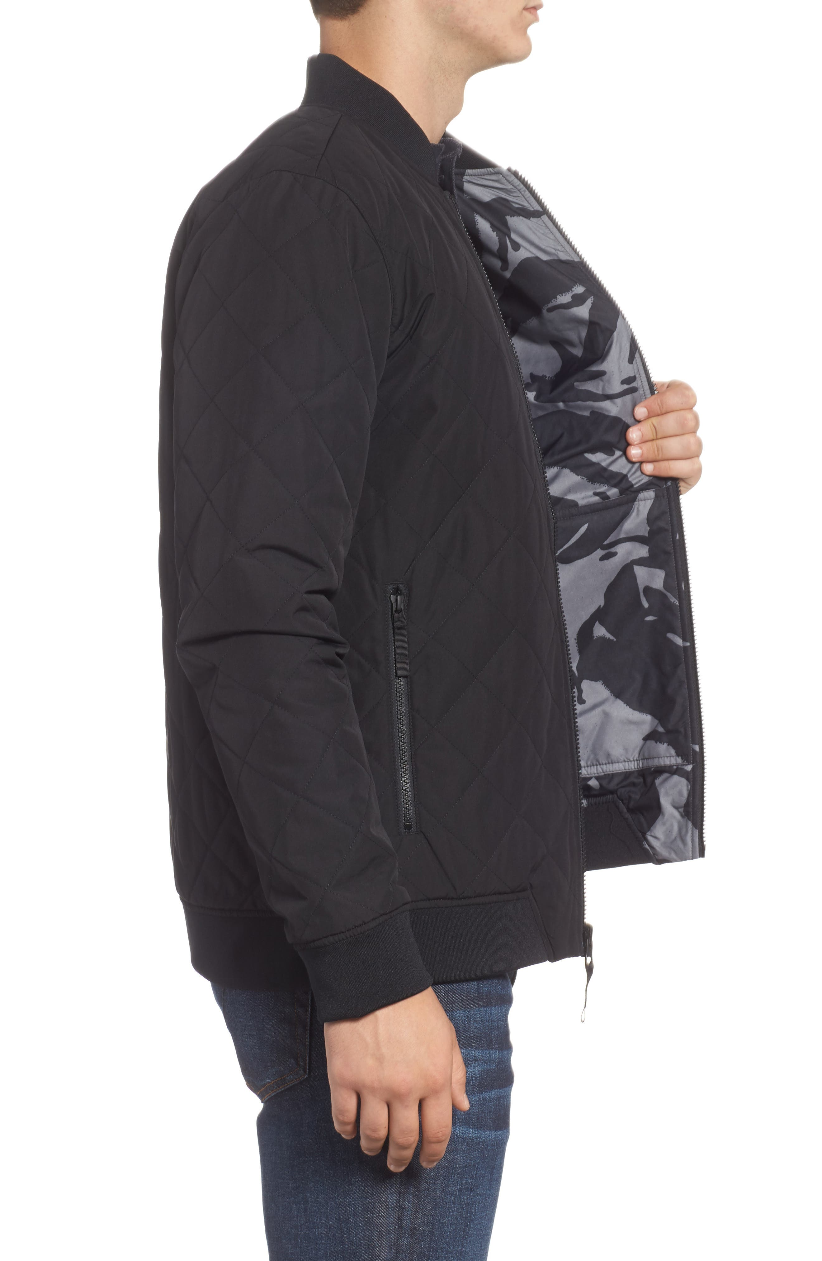 Jester Reversible Bomber Jacket,                             Alternate thumbnail 4, color,                             TNF BLACK
