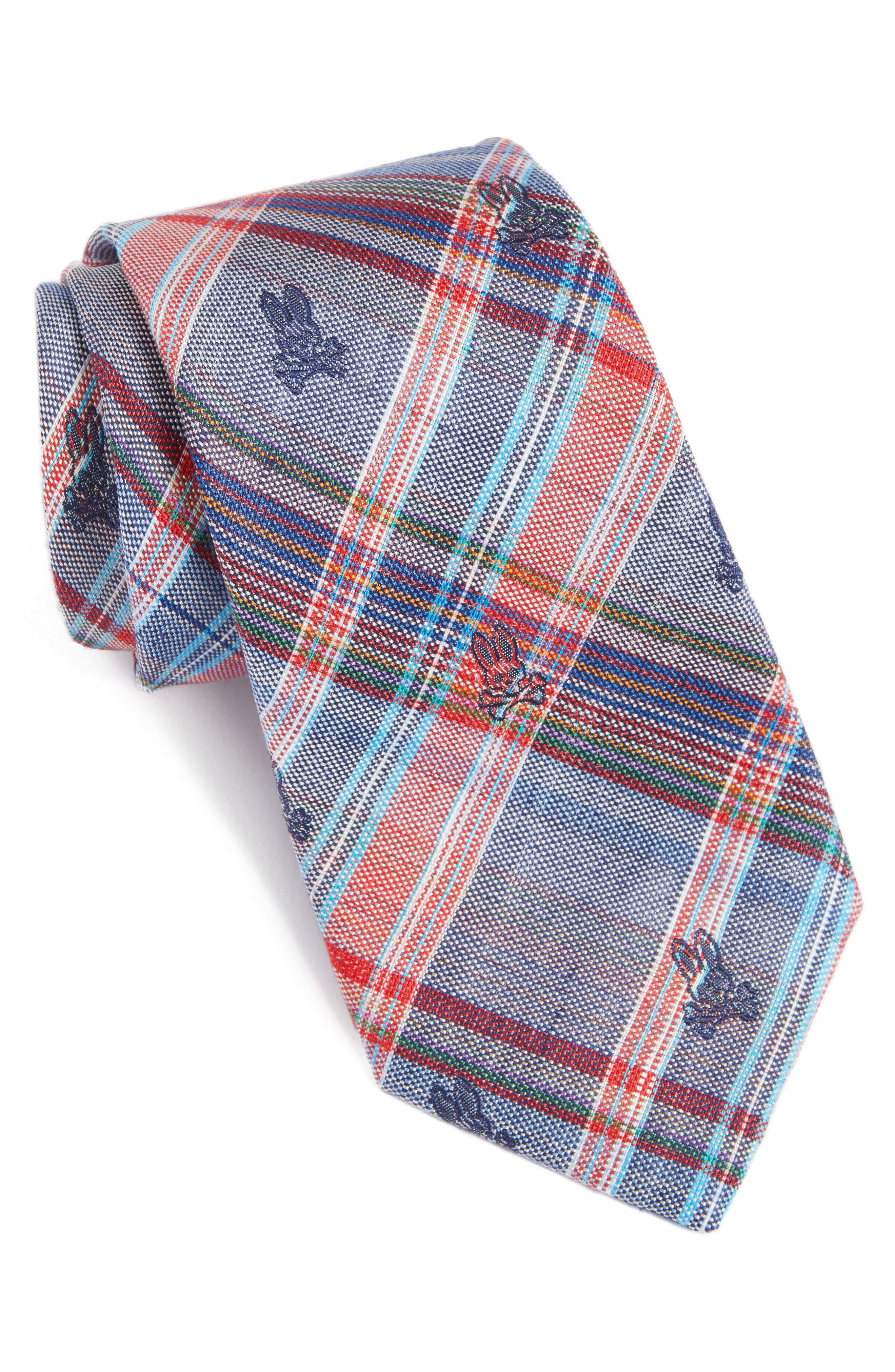 Plaid Bunny Silk Tie,                             Main thumbnail 1, color,