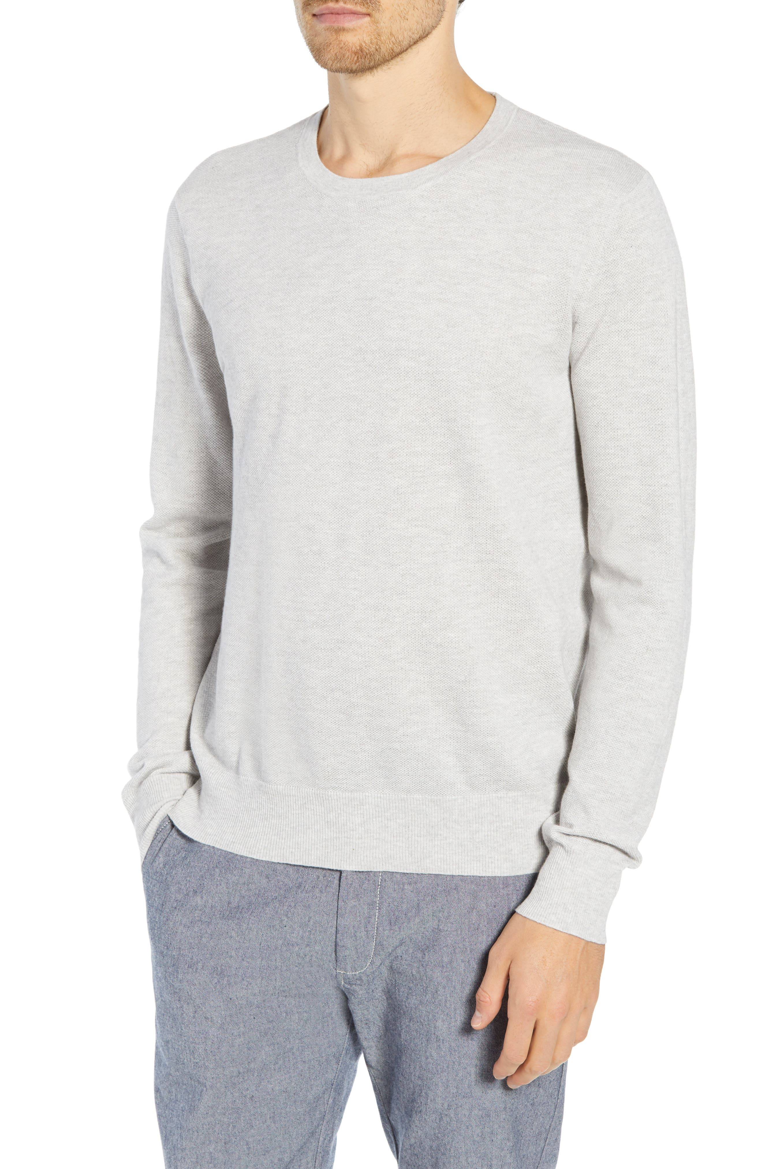 Cotton & Cashmere Piqué Crewneck Sweater,                             Main thumbnail 1, color,                             HEATHER SILVER