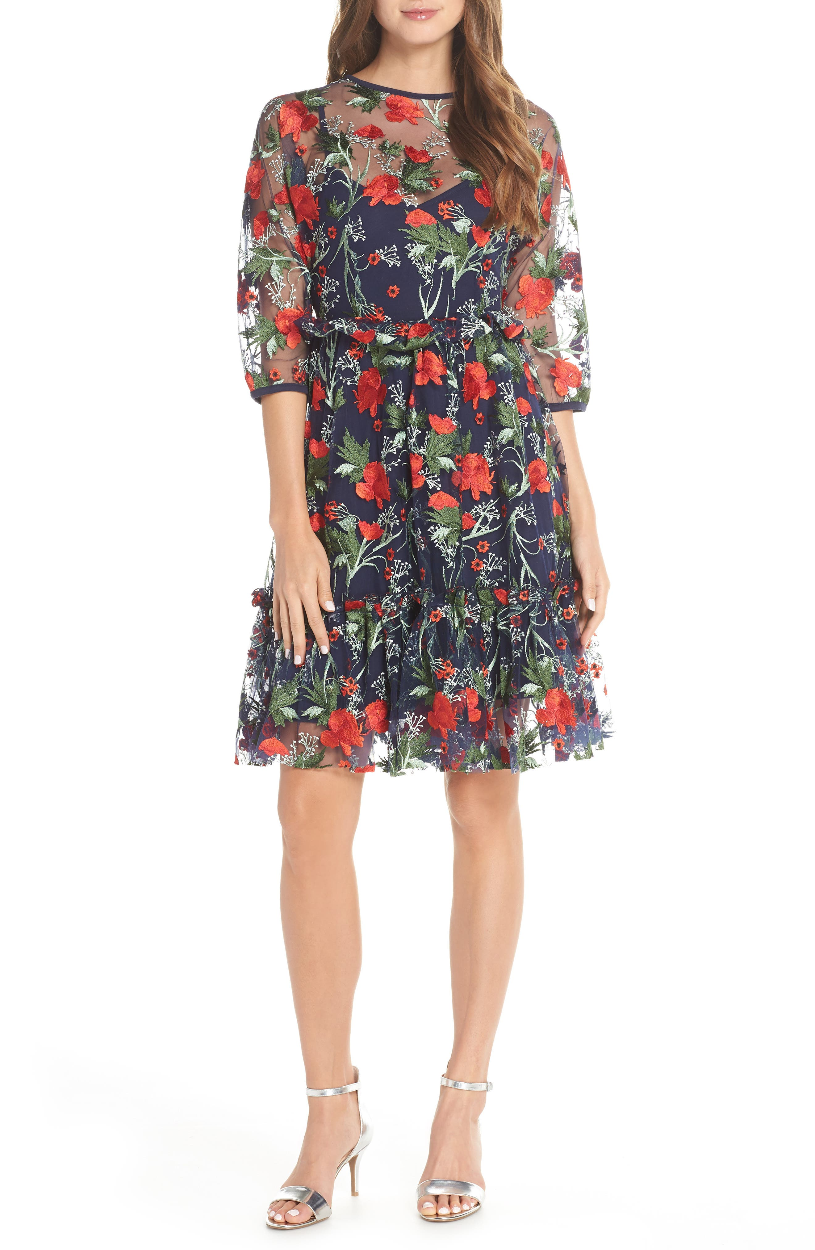 1901,                             Embroidered Mesh Fit & Flare Dress,                             Main thumbnail 1, color,                             RED FLORAL