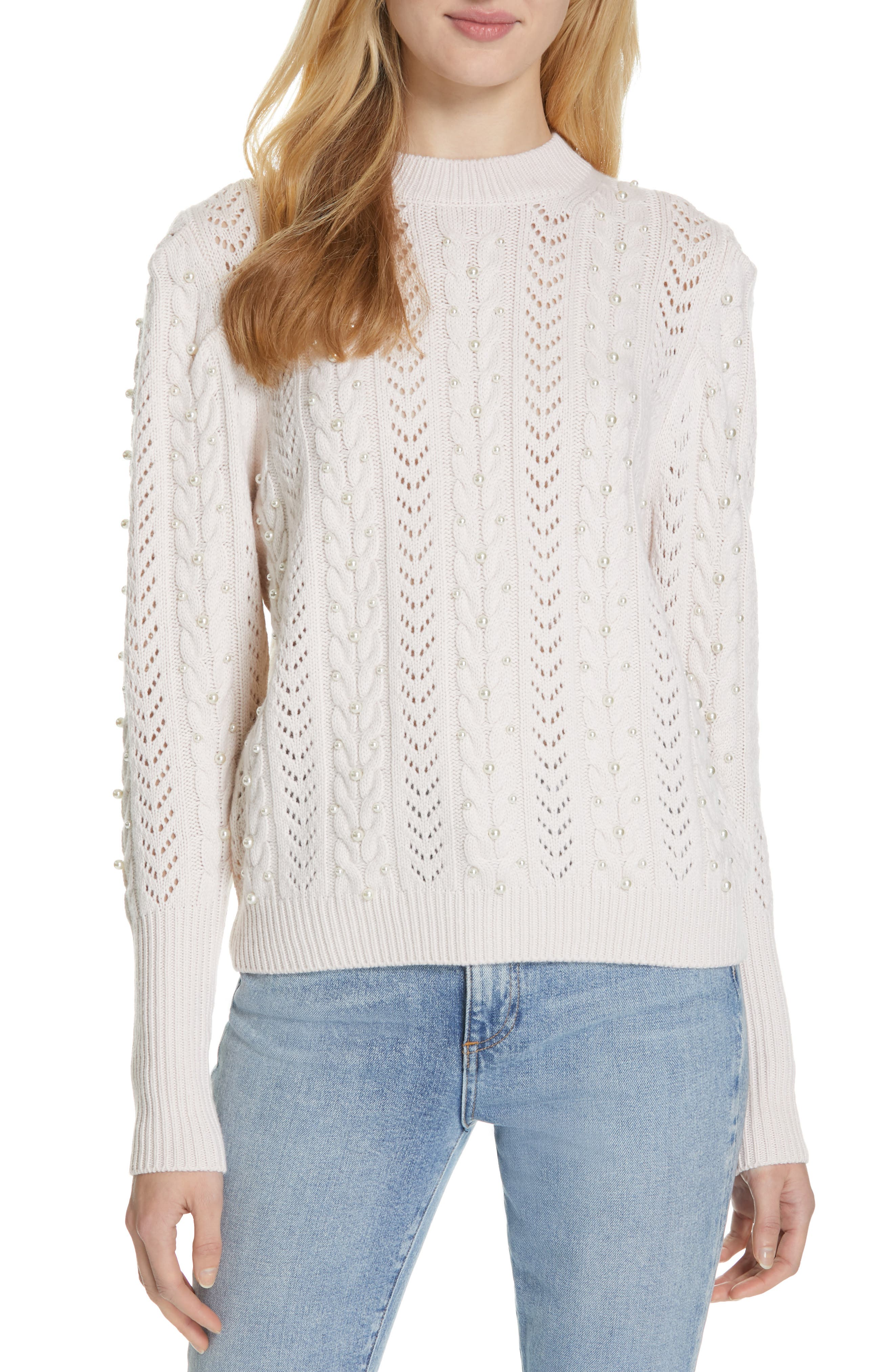 Tinala Faux Pearl Detail Cable Sweater,                             Main thumbnail 1, color,                             ANTIQUE WHITE