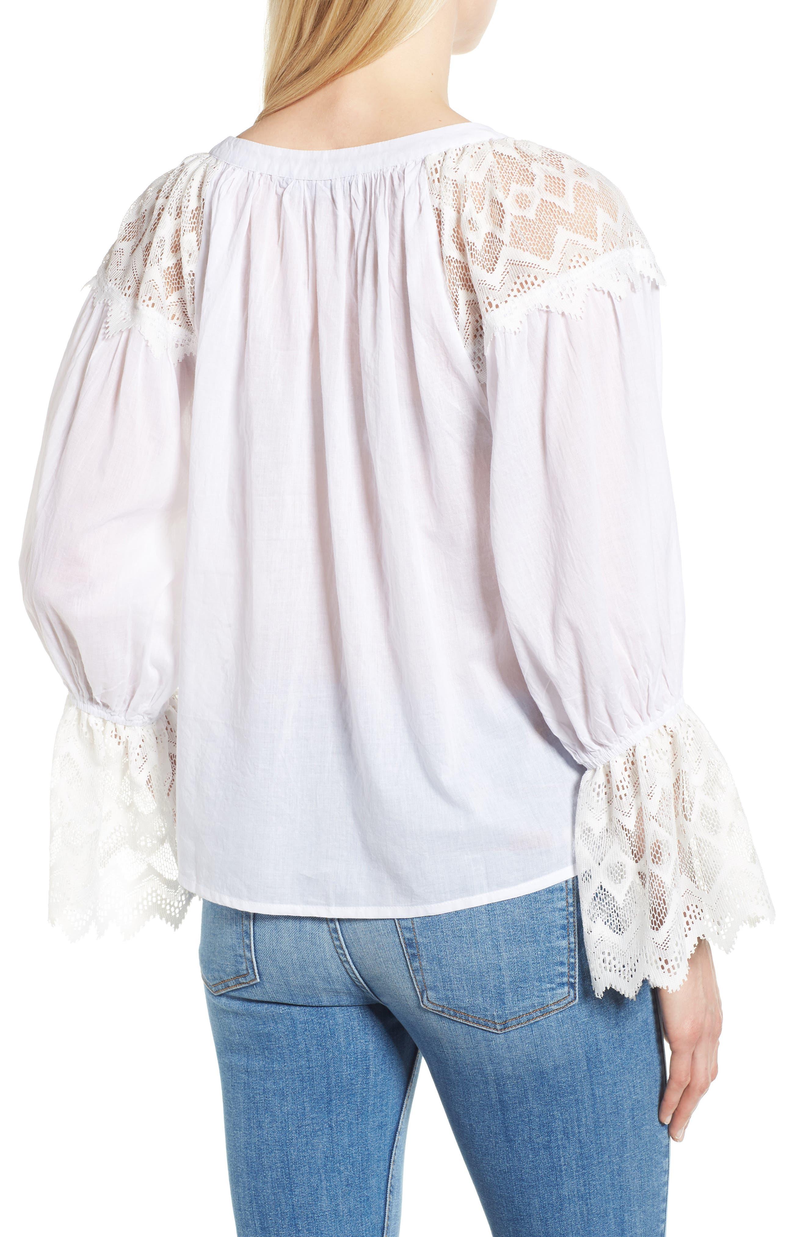Berkley White Lace Cotton Blend Top,                             Alternate thumbnail 2, color,                             WHITE