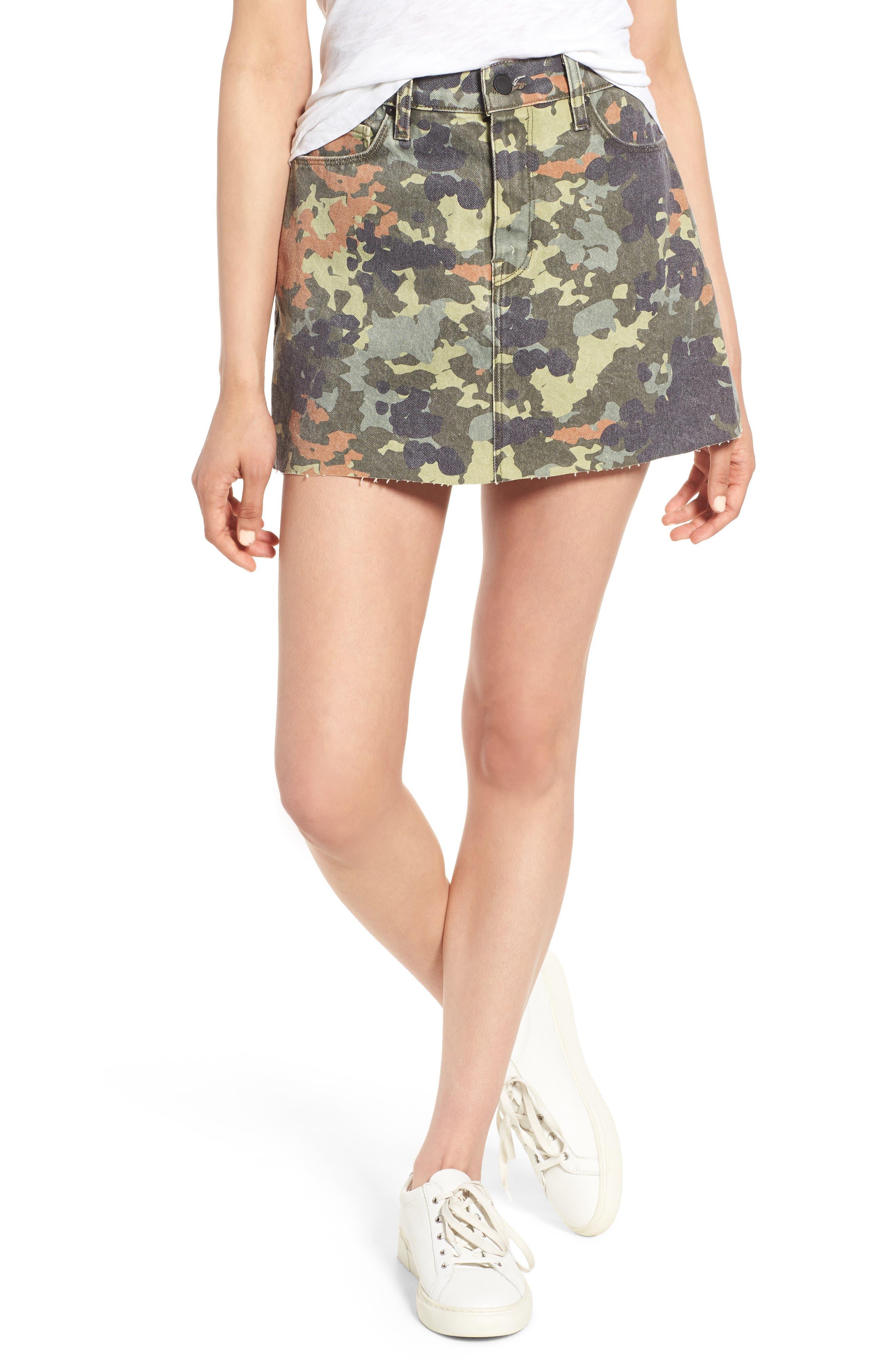 Hudson Jeans The Viper Camo Cutoff Denim Miniskirt, Green