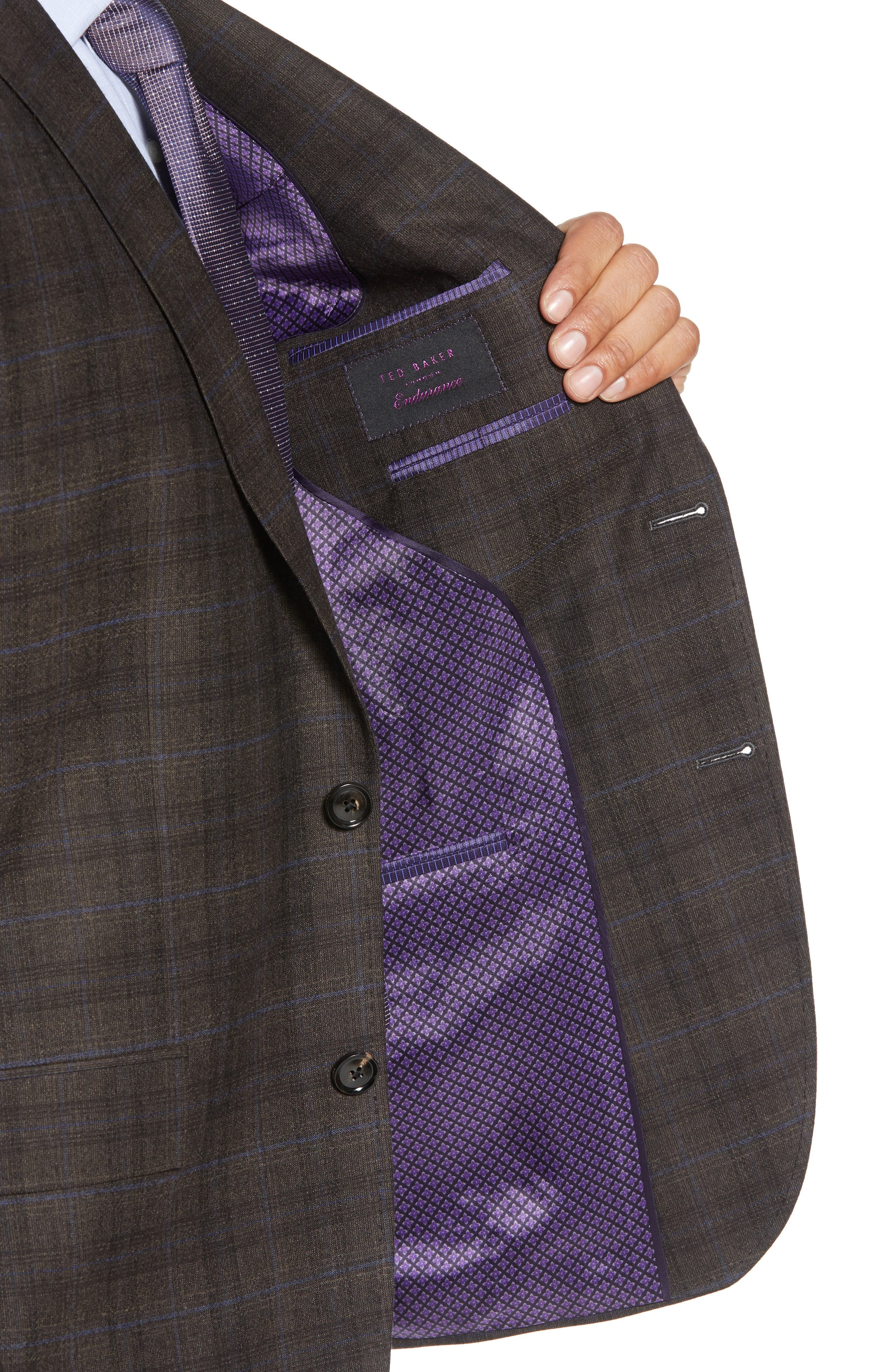 Jay Trim Fit Plaid Wool Suit,                             Alternate thumbnail 4, color,                             BROWN PLAID