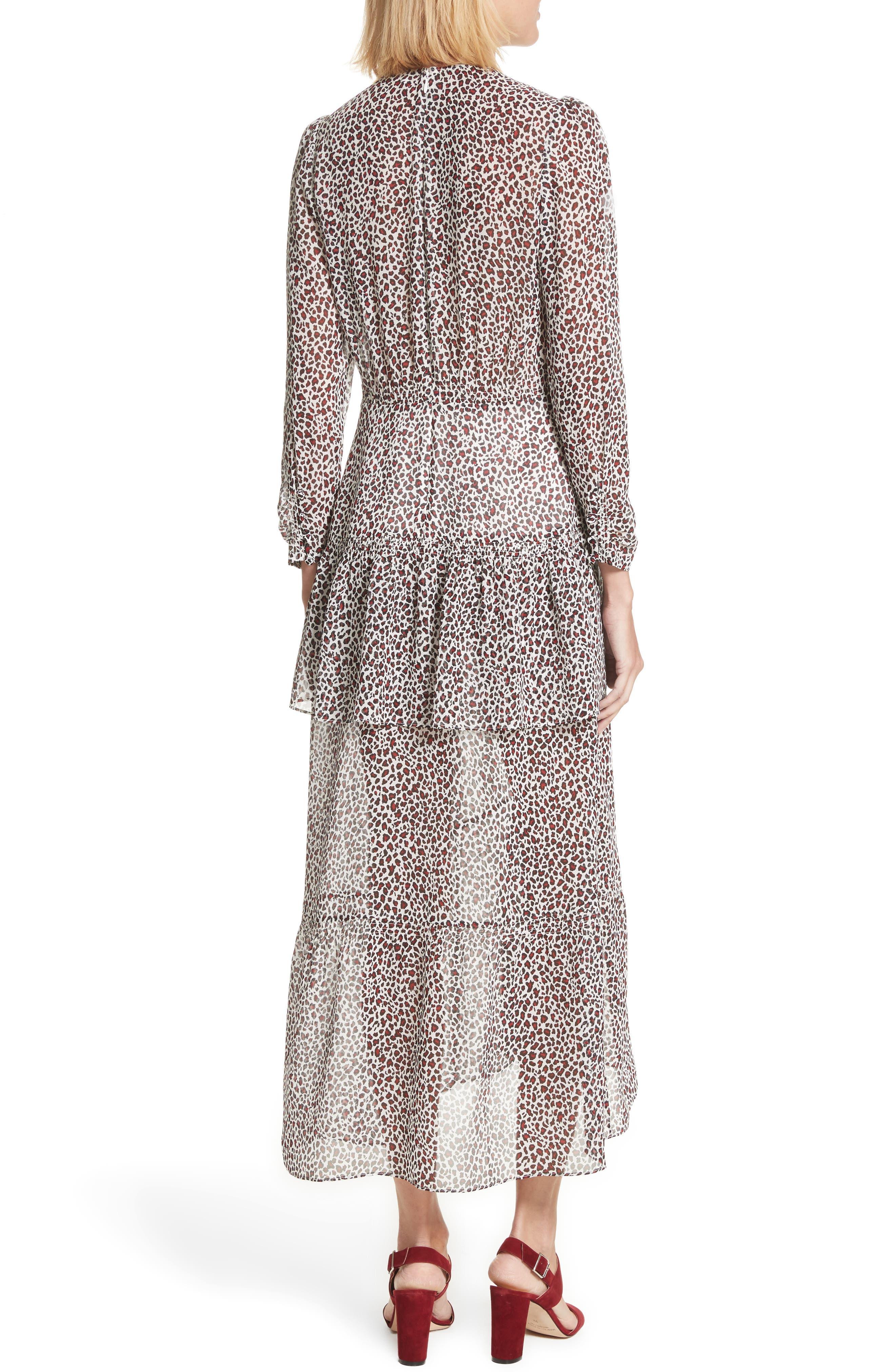 Zandra Leopard Print Silk Midi Dress,                             Alternate thumbnail 2, color,                             901