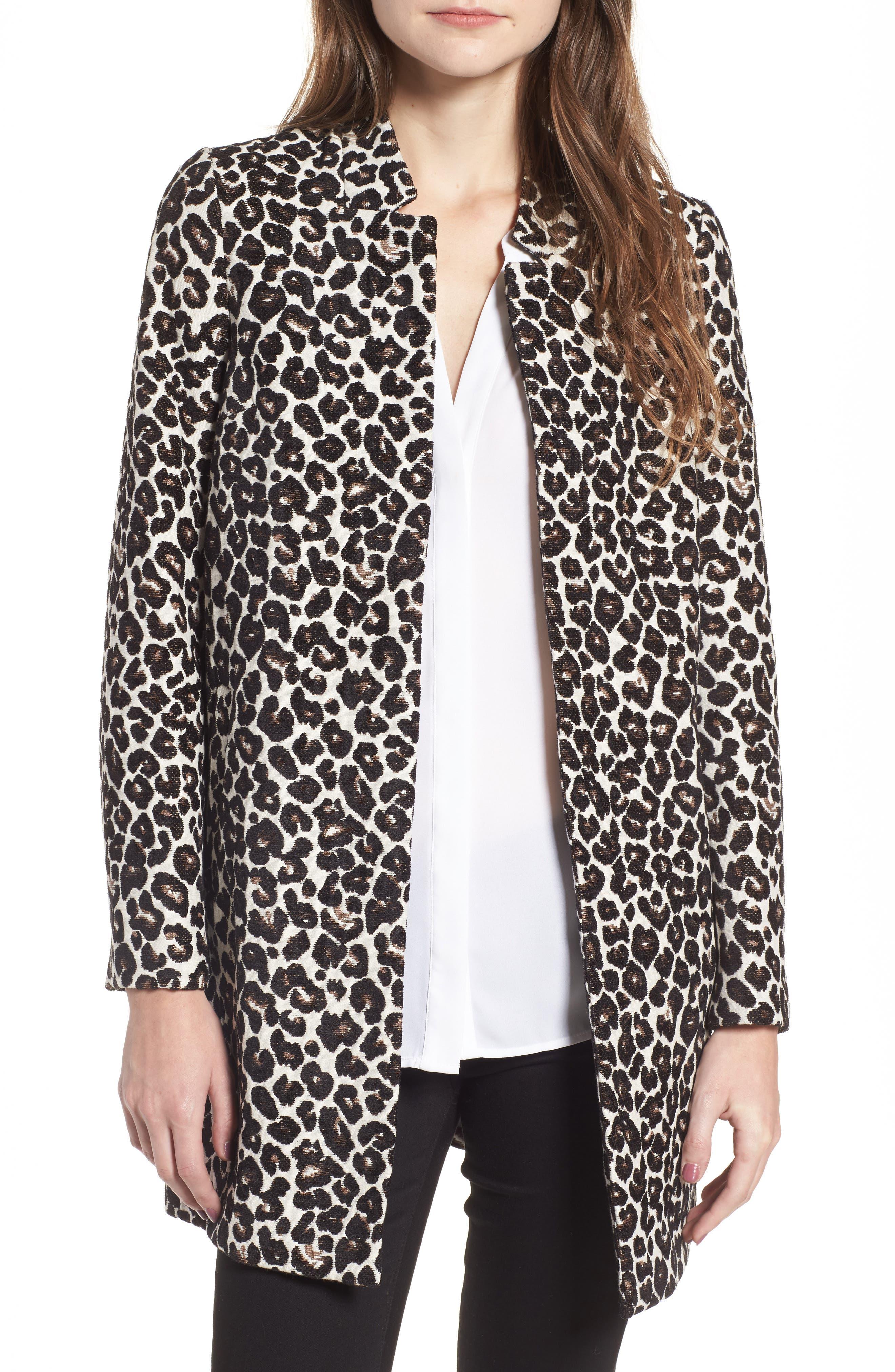 Leopard Print Car Coat,                             Main thumbnail 1, color,                             700