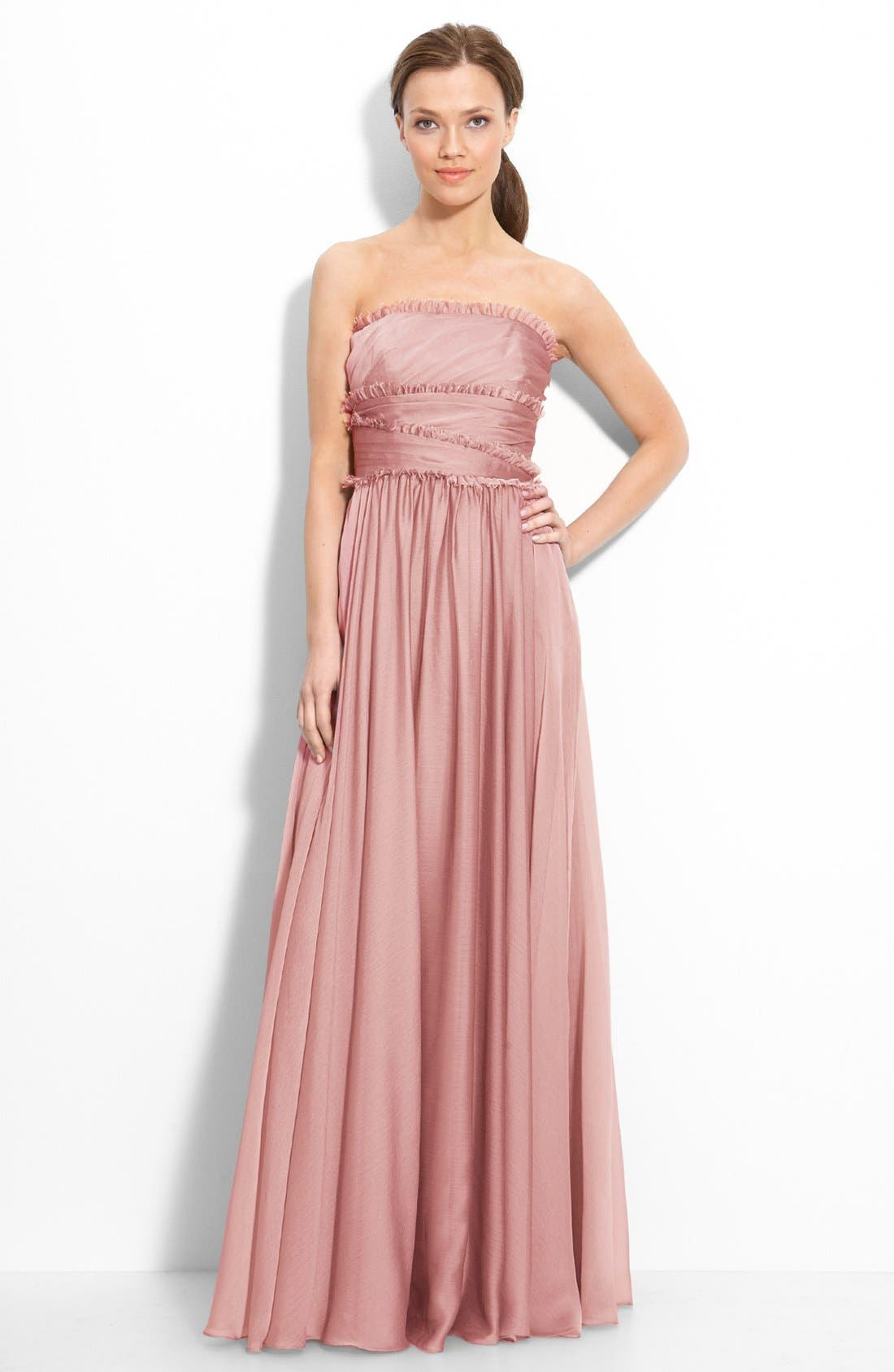 ML Monique Lhuillier Bridesmaids Strapless Chiffon Gown,                             Main thumbnail 16, color,