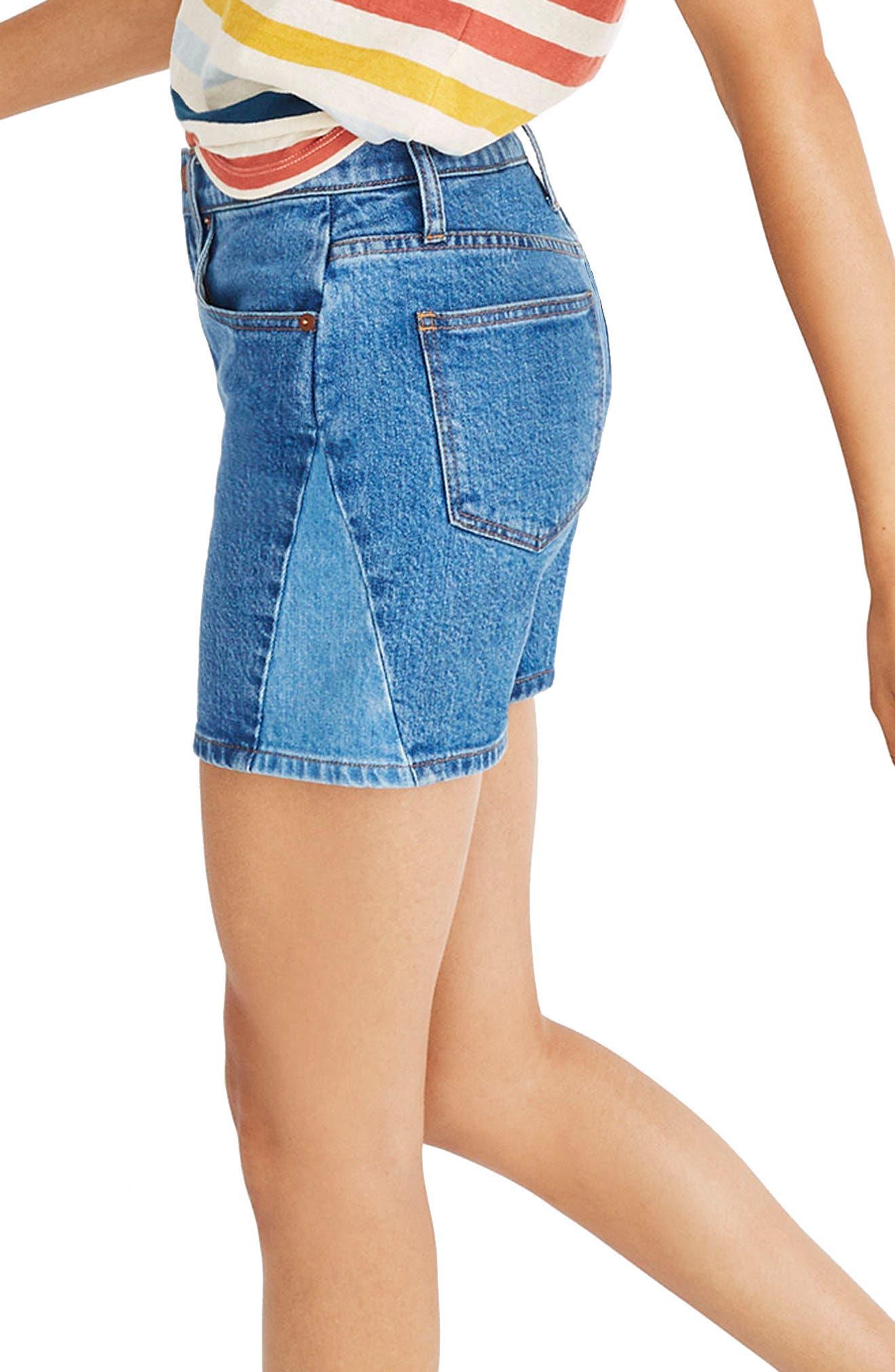 High Waist Pieced Denim Shorts,                             Alternate thumbnail 3, color,                             400