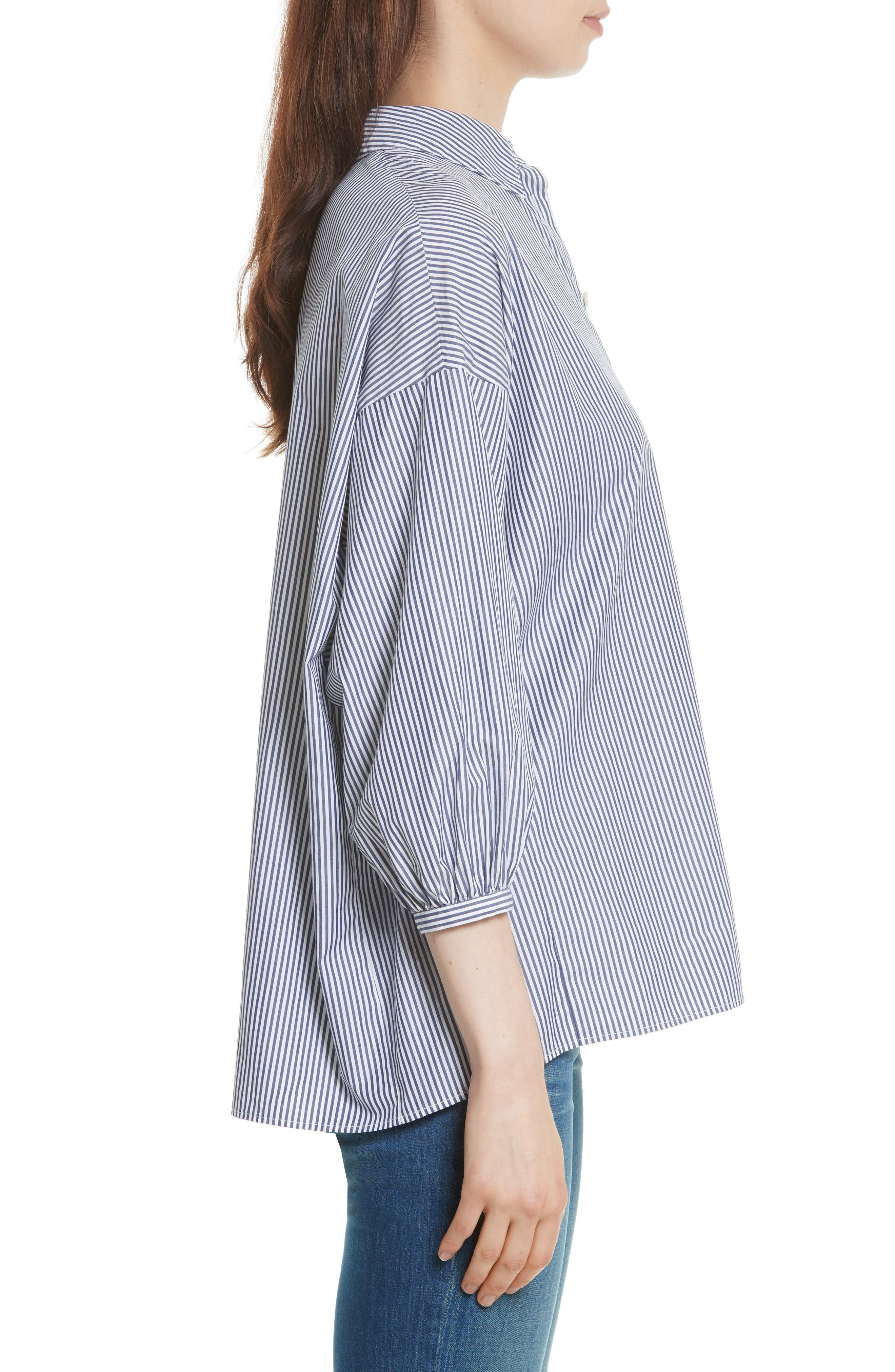 The Easy Stripe Cotton Shirt,                             Alternate thumbnail 3, color,                             400