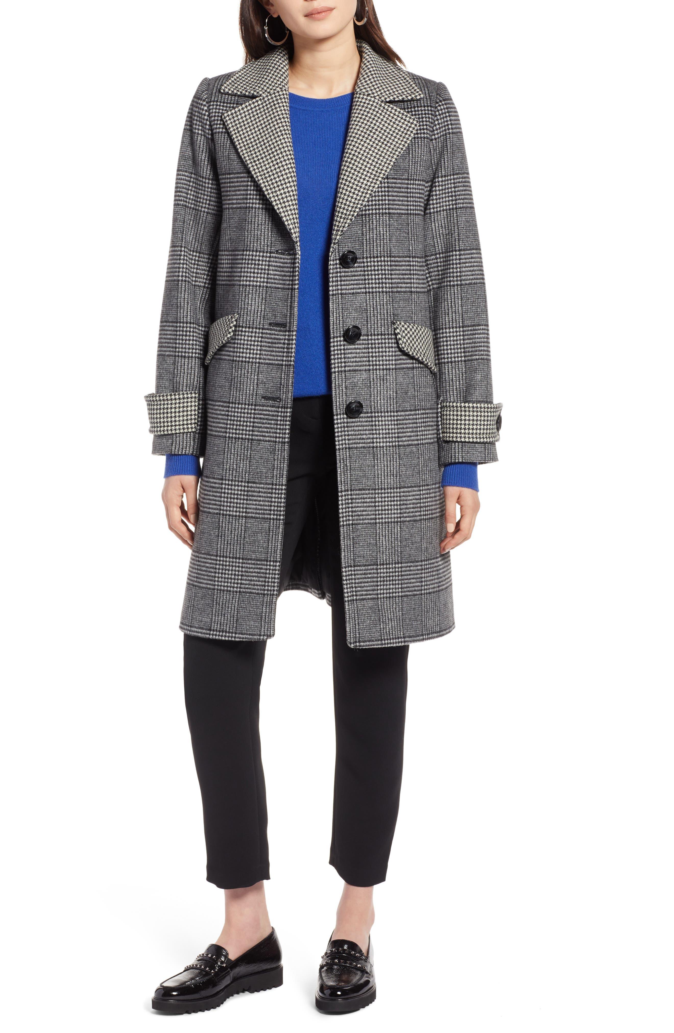 Plaid Mix Wool Coat, Main, color, 001